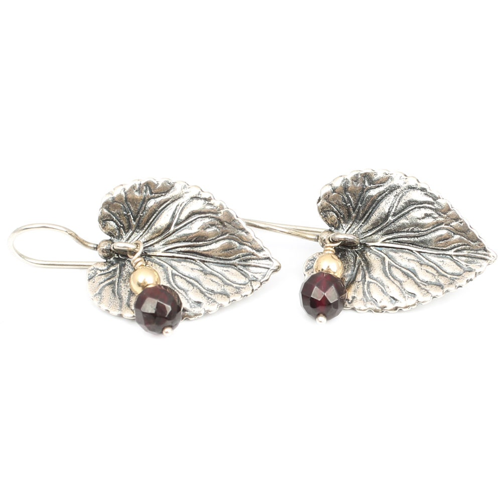 14K Yellow Gold and Sterling Silver 2.00 CTW Garnet Leaf Earrings