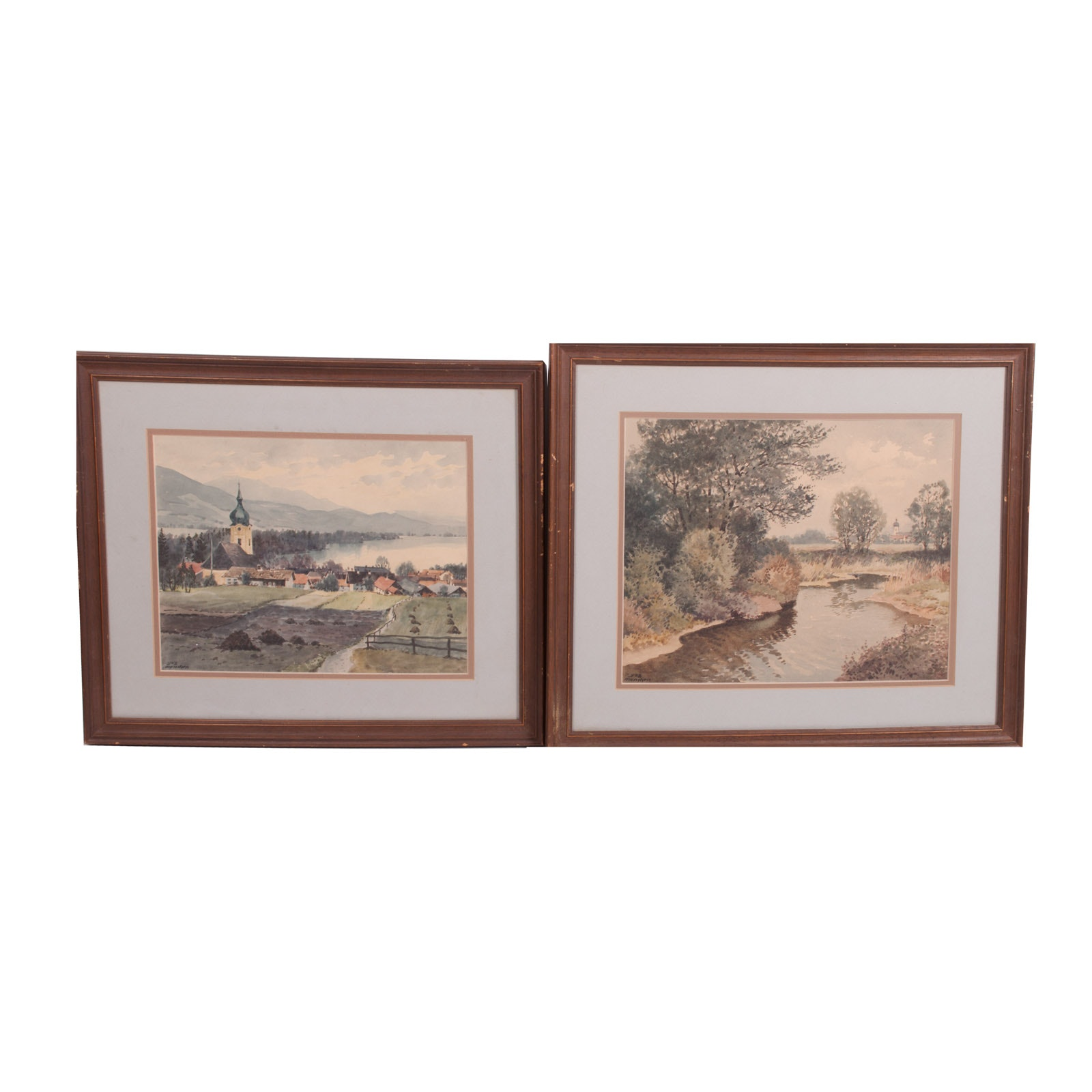 Pair of Watercolor Paintings on Paper of German Village and Countryside