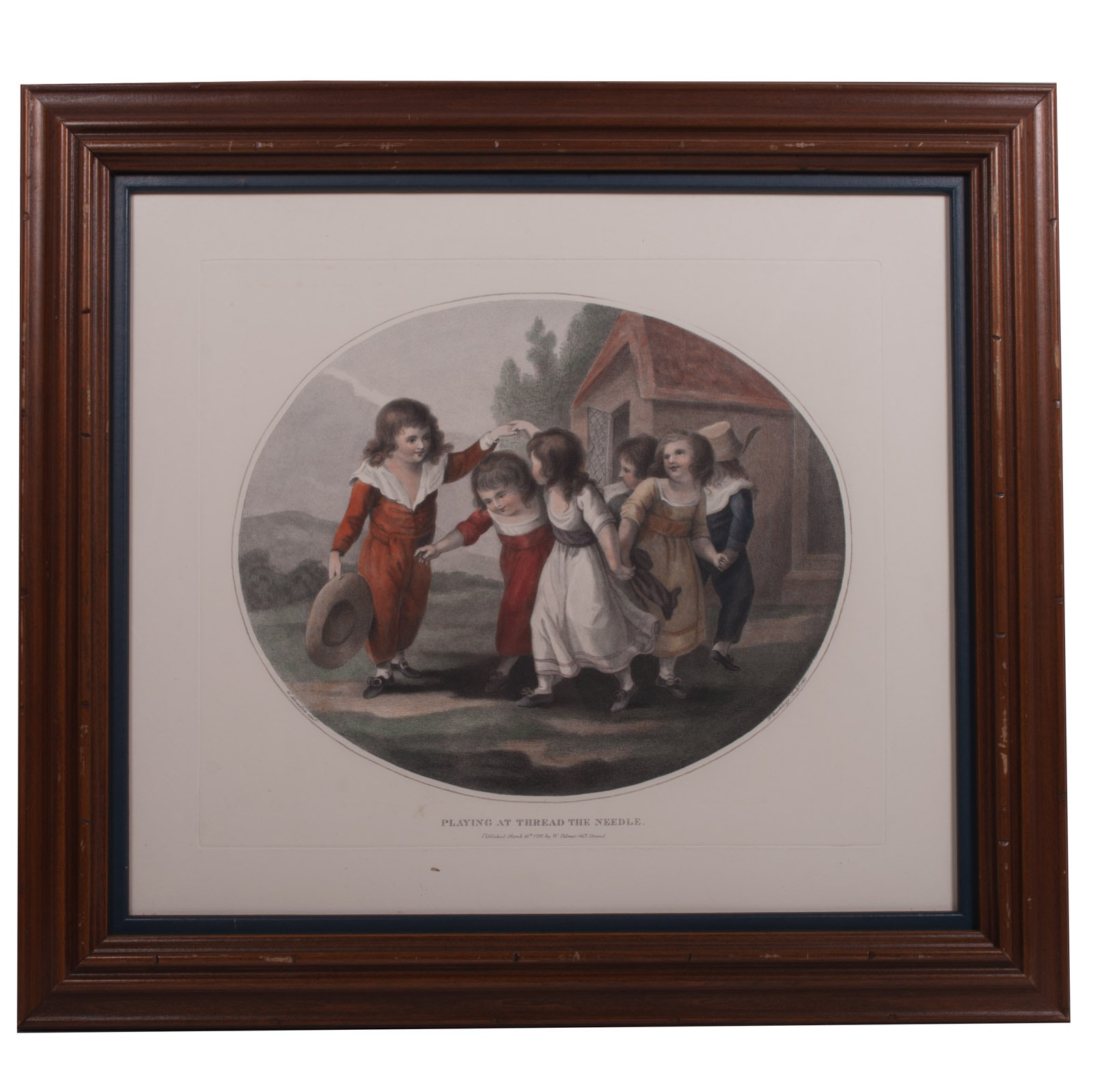 "Reprint Engraving on Paper After William Hamilton ""Playing at Thread the Needle"""