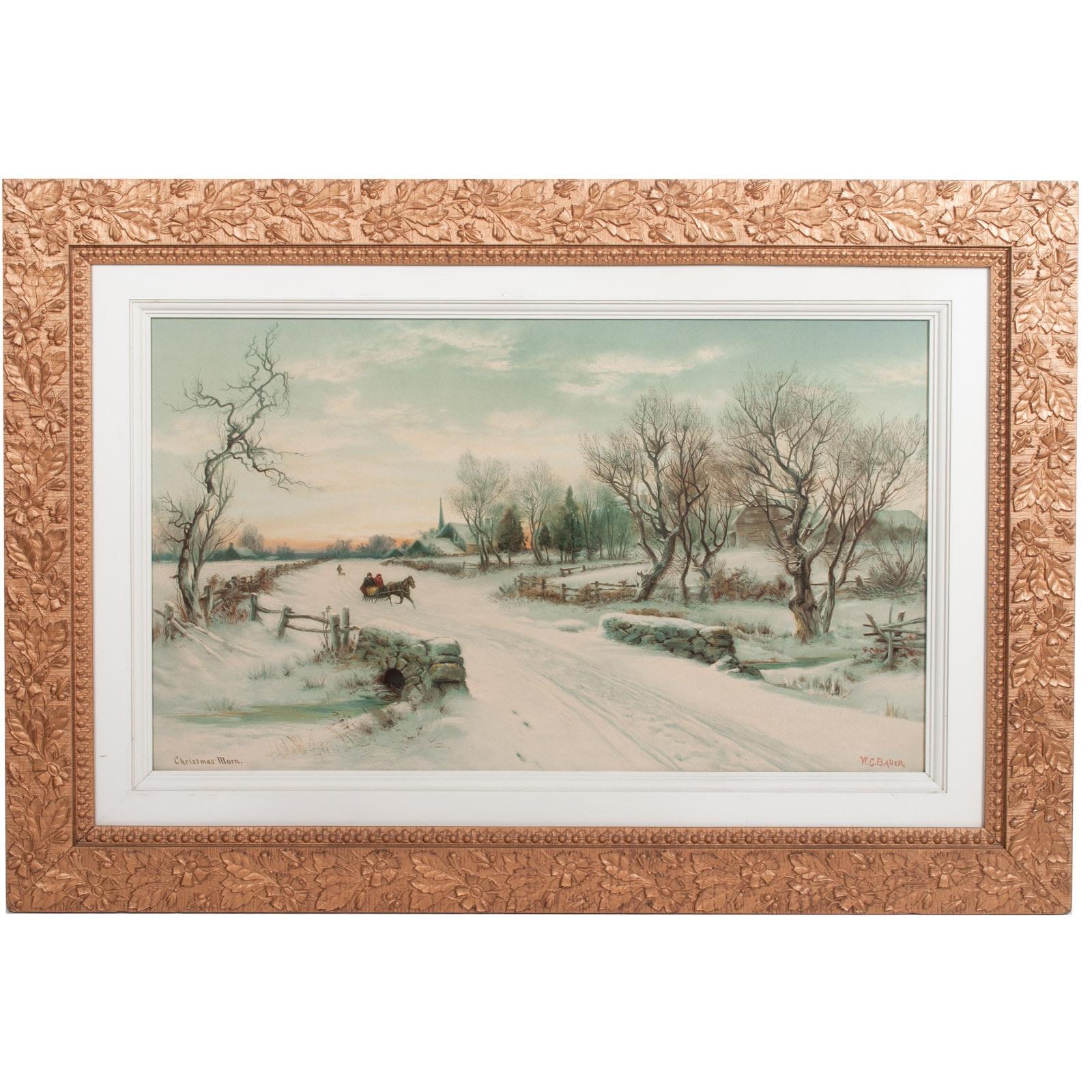 "W.C. Bauer Lithograph ""Christmas Morn"""