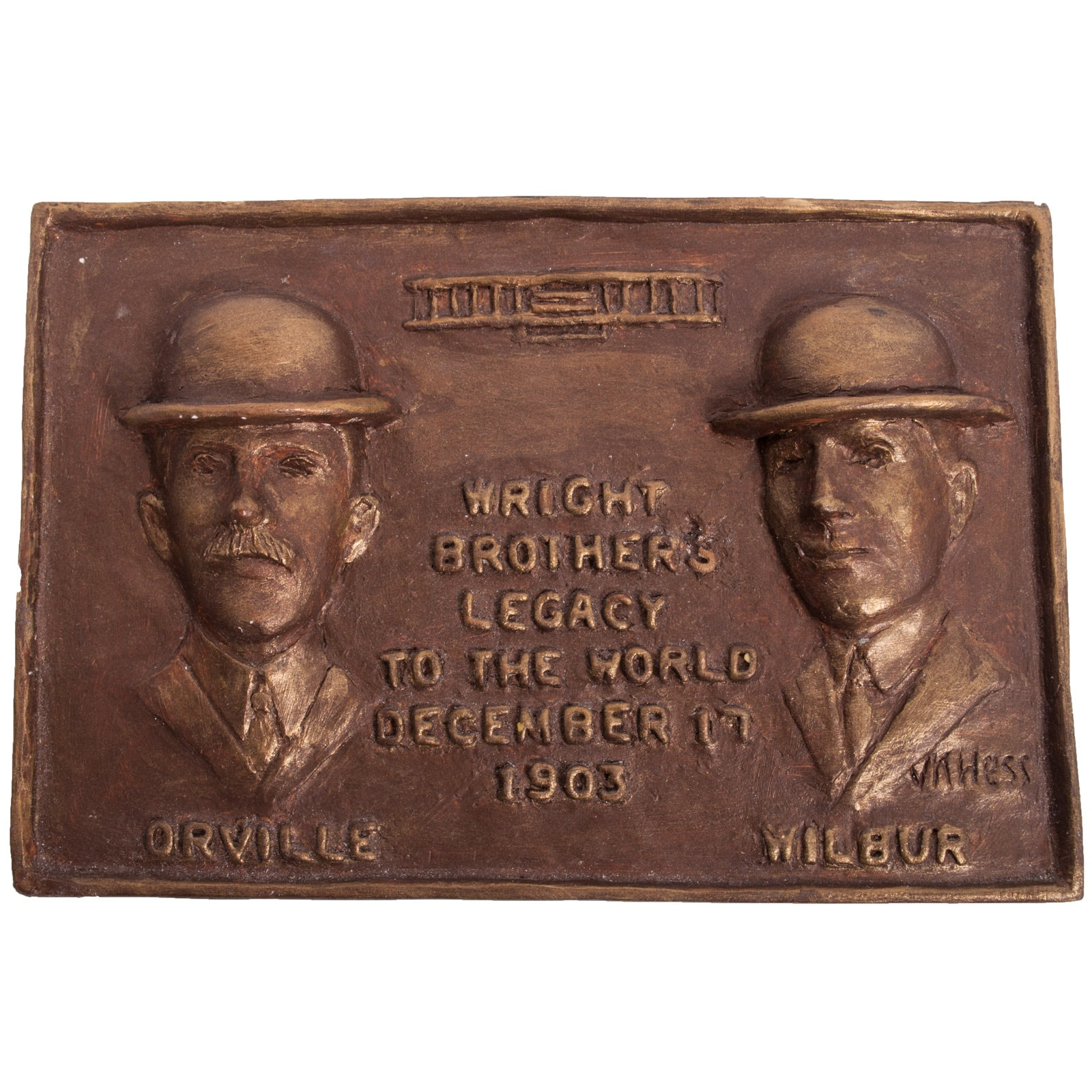 Virginia K. Hess Cold Bronze Wright Brothers Maquette Plaque