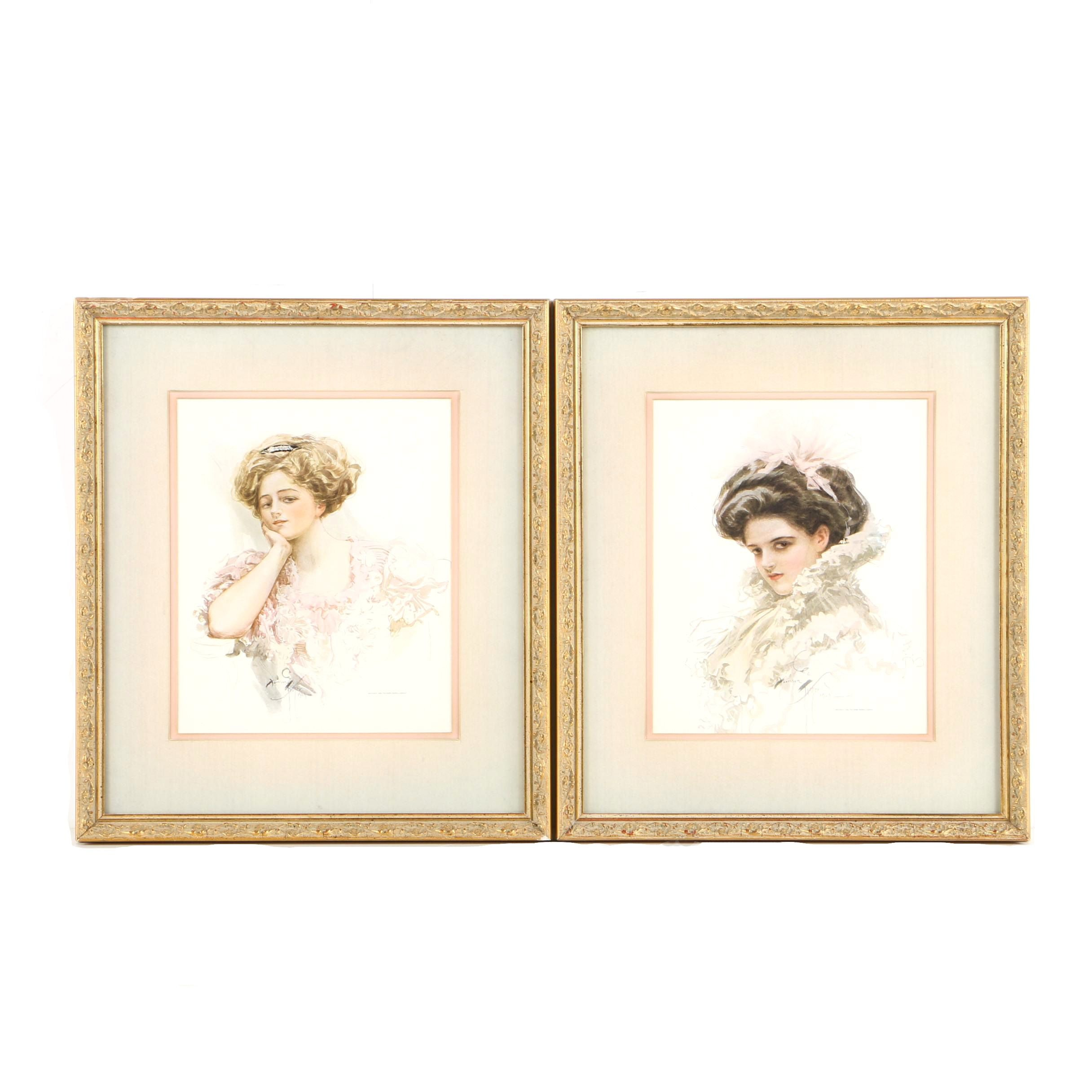 Offset Lithographs on Paper After Harrison Fisher Fashionable Women