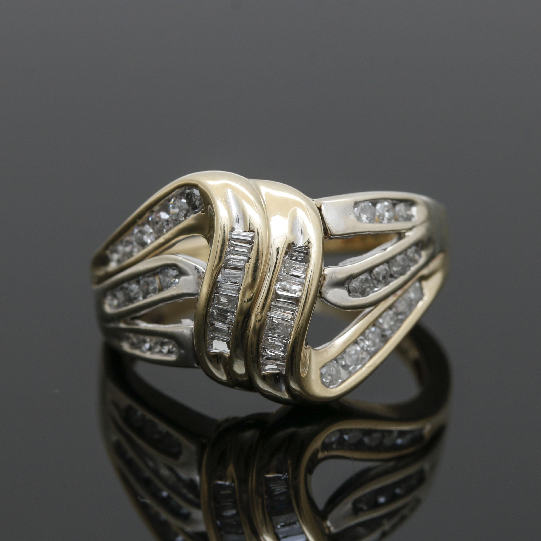 10K Yellow Gold Diamond Ribbon Ring