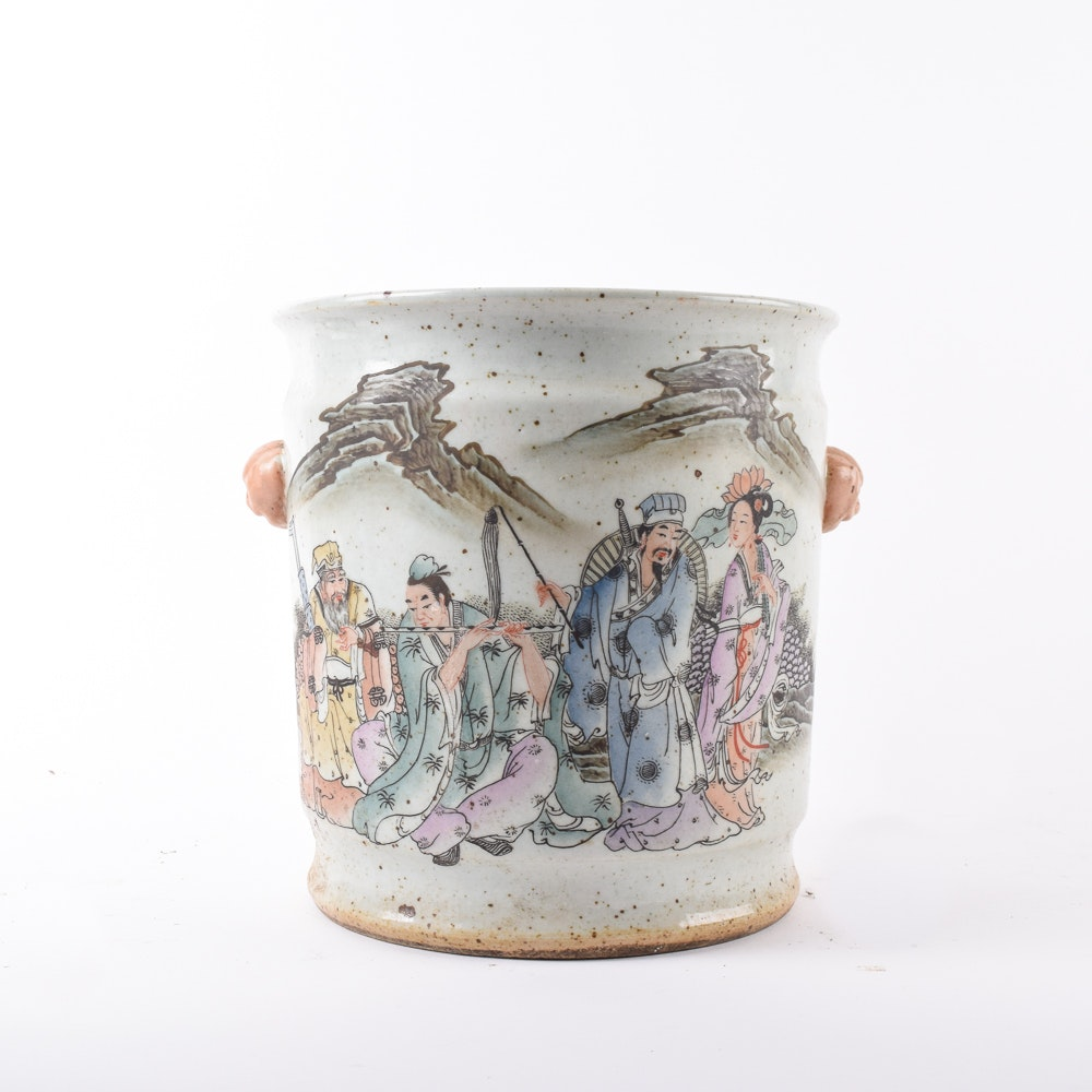 """Vintage Chinese """"Eight Immortals"""" Ceramic Handled Pot"""