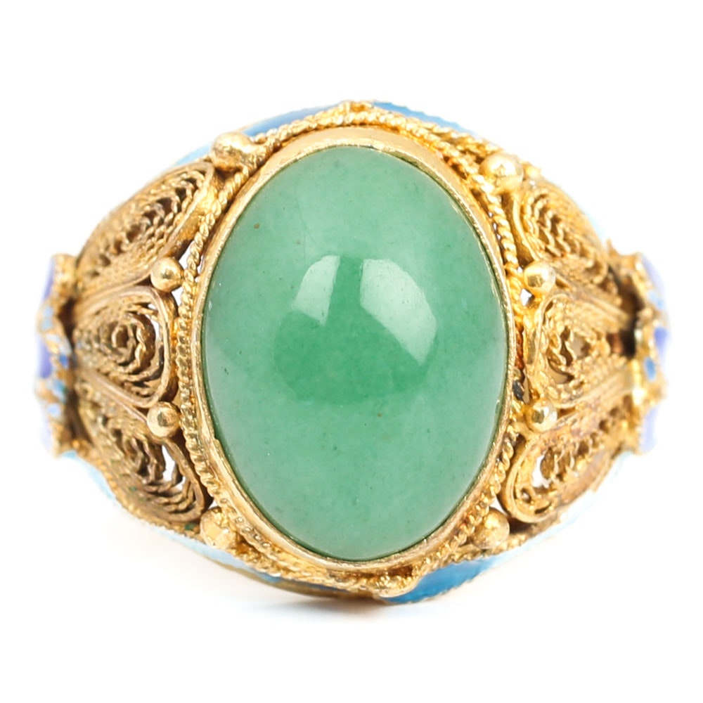 Gold Wash Over Sterling Silver Enamel and 3.06 CT Green Quartz Ring