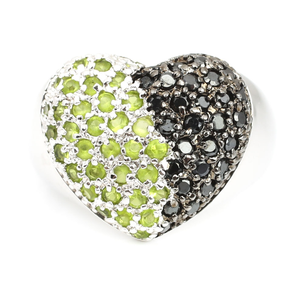 Sterling Silver Black Spinel and Peridot Heart Ring