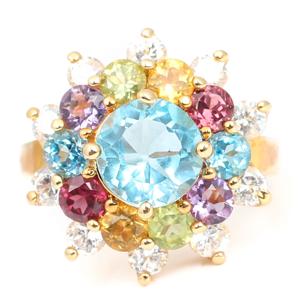 Gold Wash Over Sterling Silver 3.00 CTW Blue Topaz and Cubic Zirconia Ring