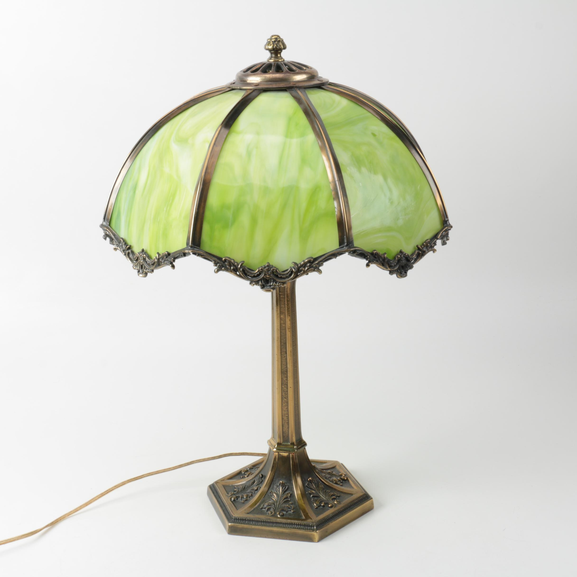 Tiffany Style Brass Table Lamp