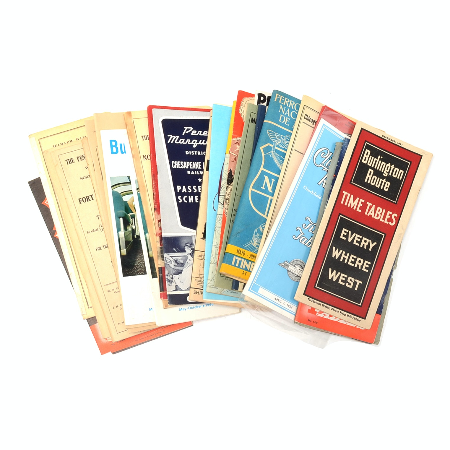 Assorted Vintage Railroad Timetables and Maps
