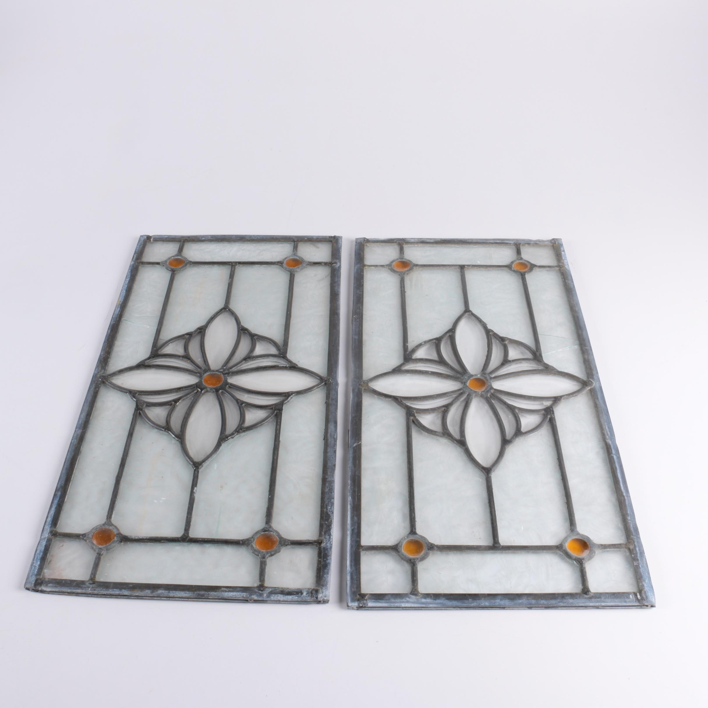 Pair of Leaded Glass Window Inserts
