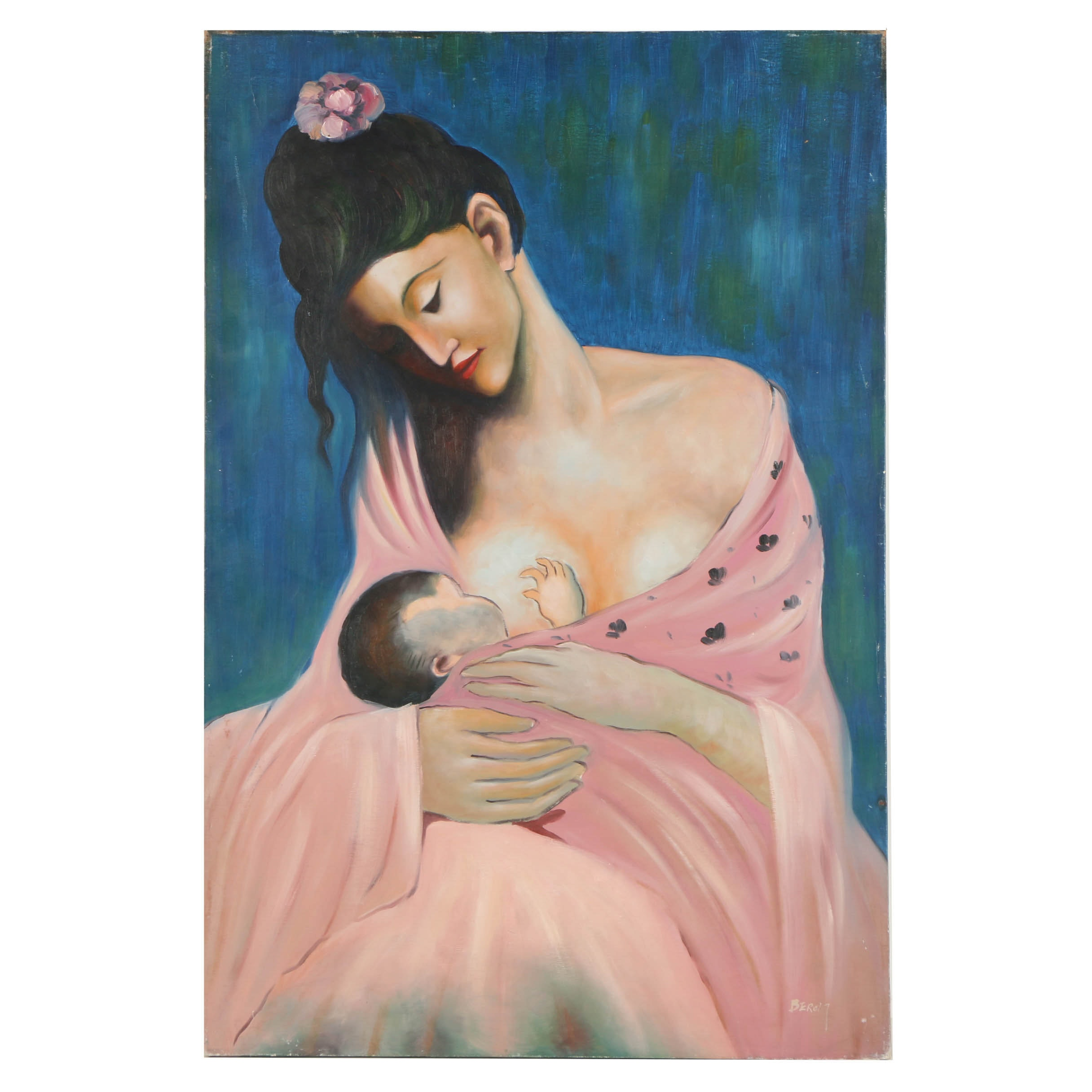 """Oil Copy Painting on Canvas After Pablo Picasso's """"Maternity"""""""