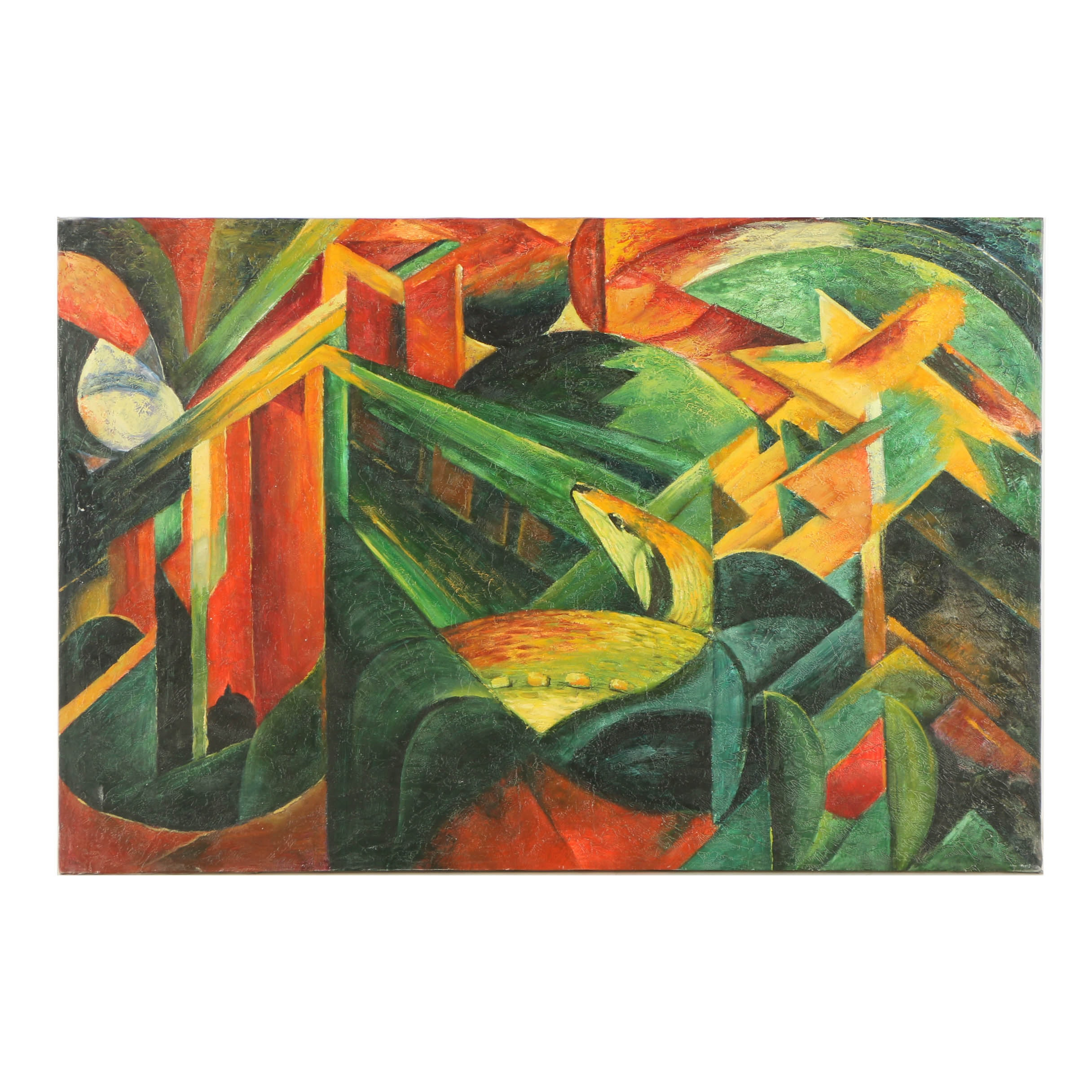"""Oil Copy Painting on Canvas After Franz Marc's """"Deer in a Monastery Garden"""""""
