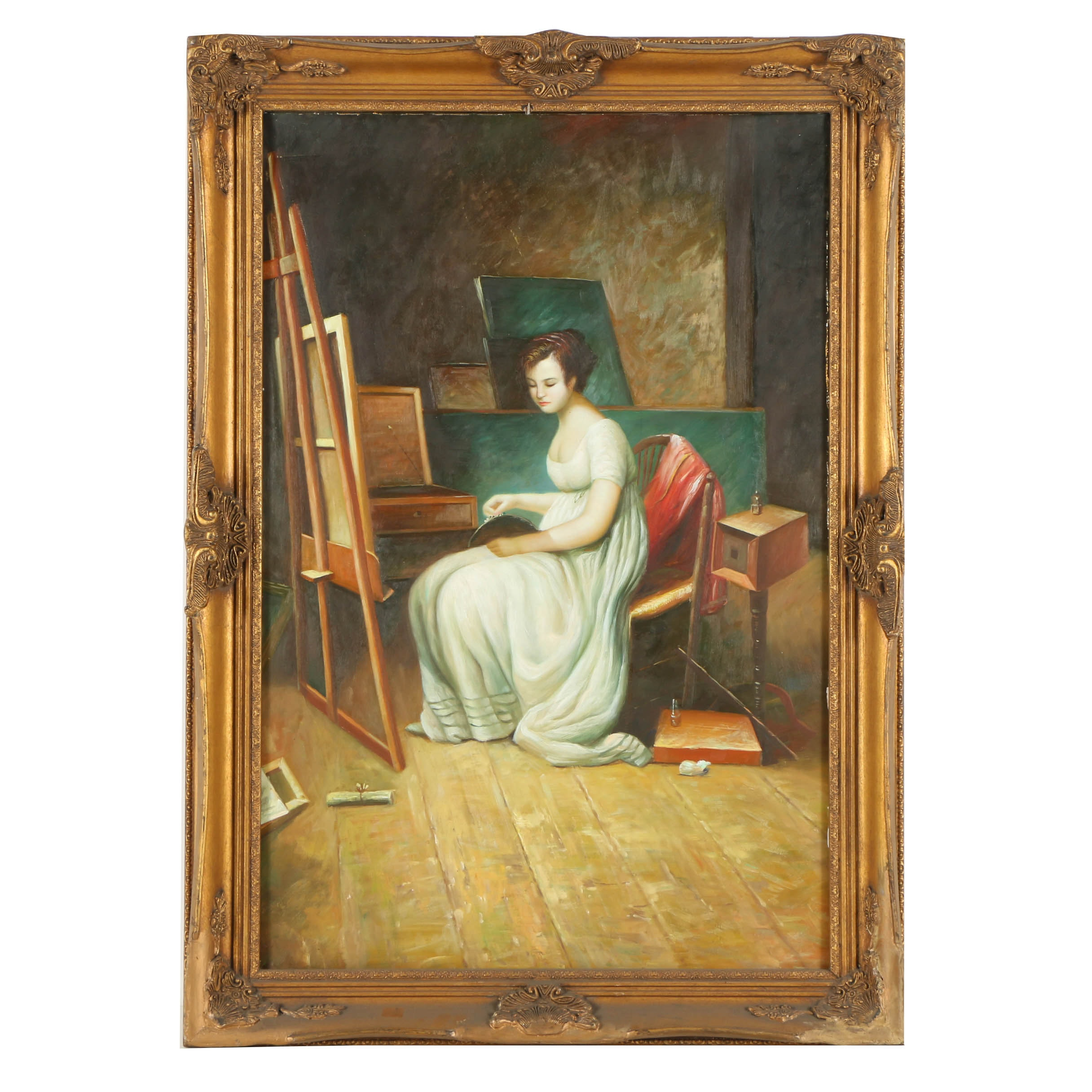 Oil Painting on Canvas of Woman in Studio