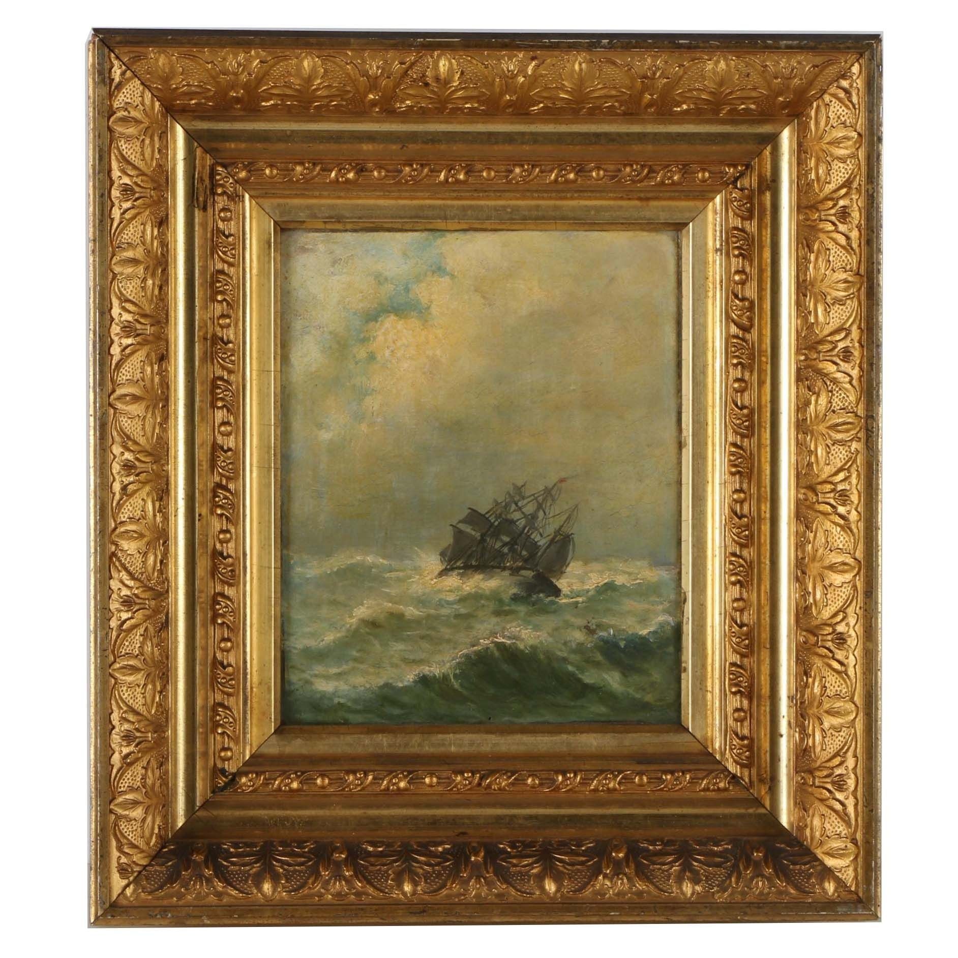 Antique Oil Painting on Board of Ship Navigating Stormy Waters