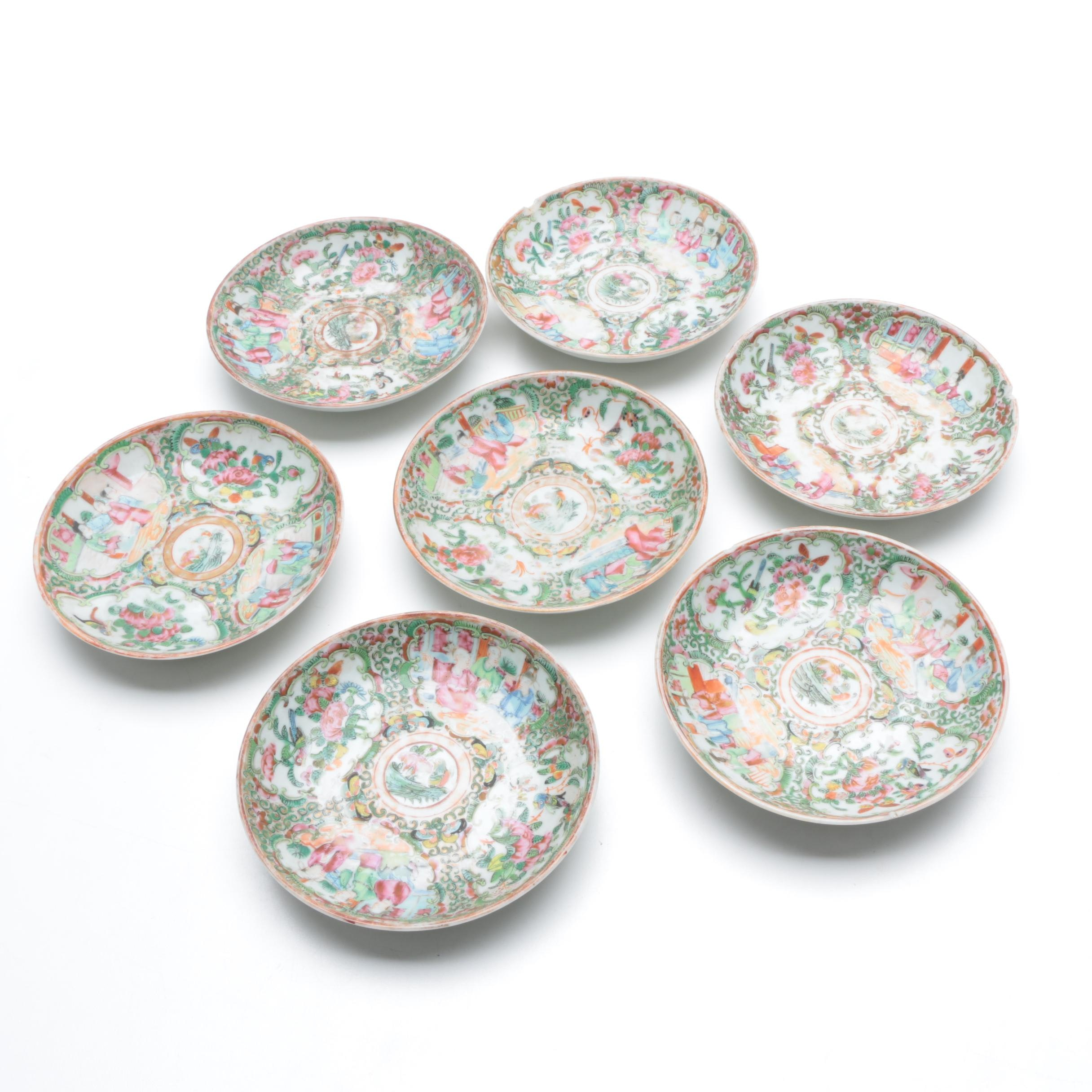 "Antique Chinese ""Rose Medallion"" Saucers"