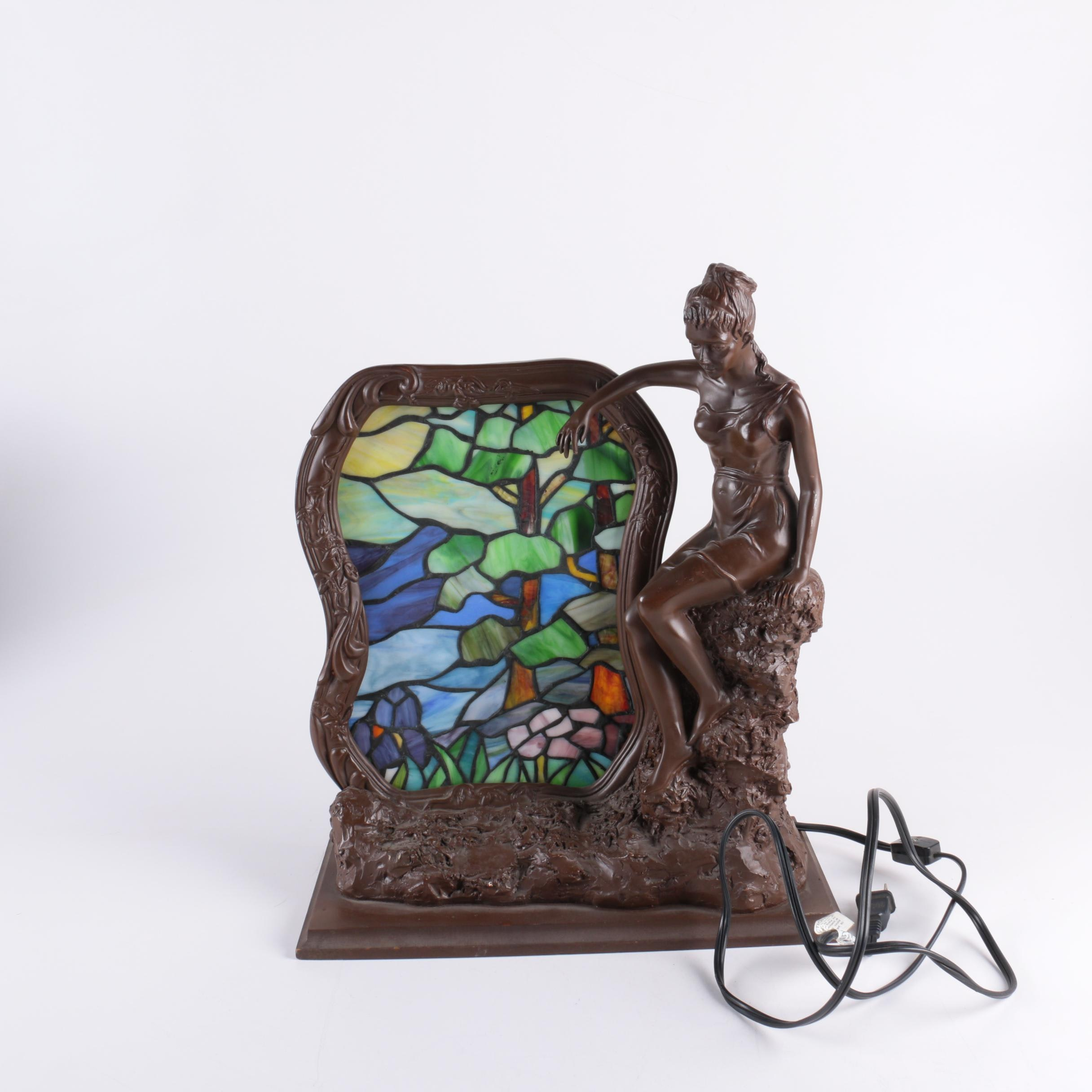 Art Nouveau Style Figural Lamp with Stained Glass Panel