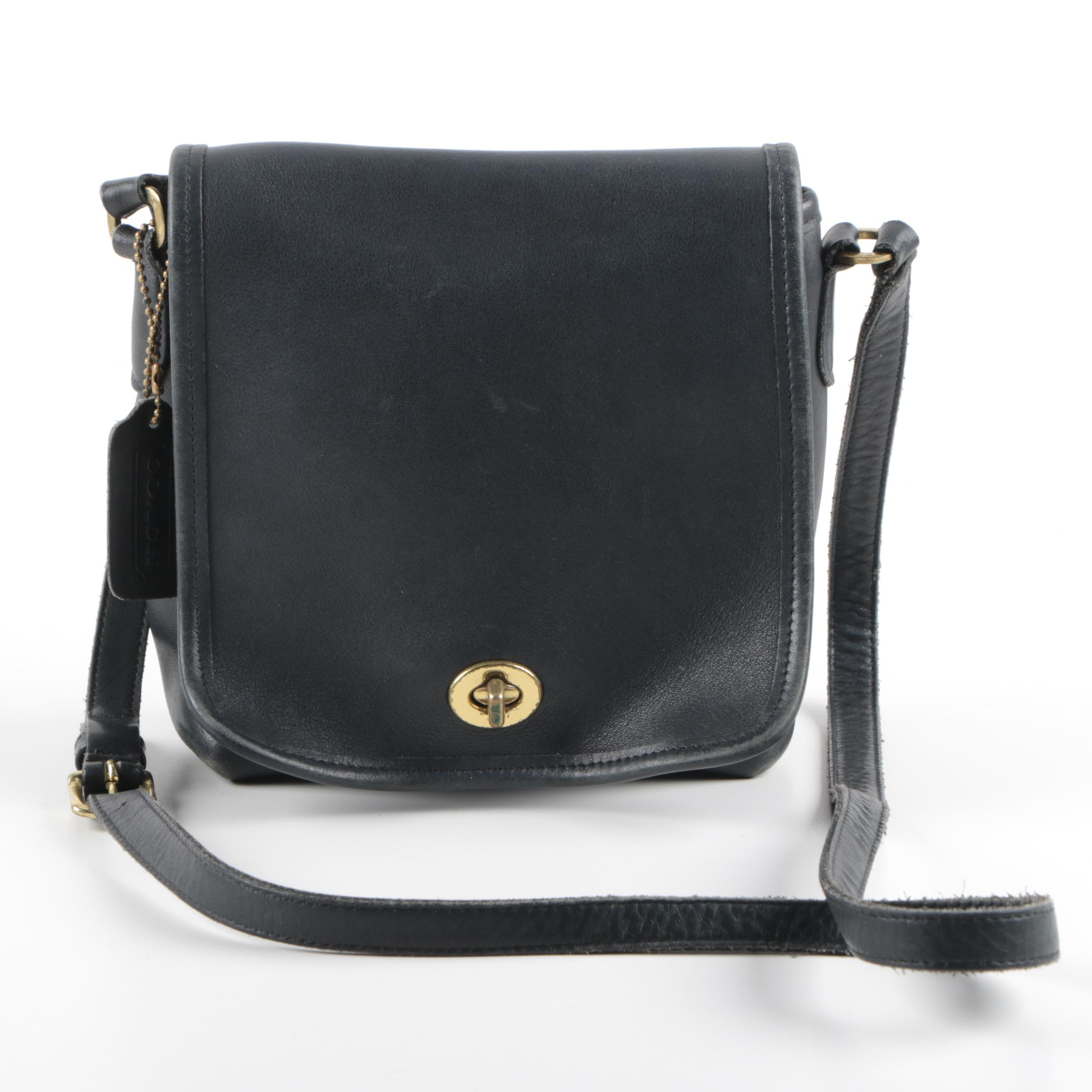 Coach Companion Black Leather Flap Bag