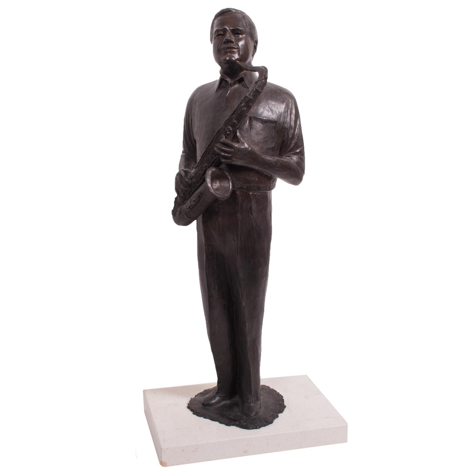 "Virginia K. Hess Bronze Sculpture 1993 ""Saxophone Player"""