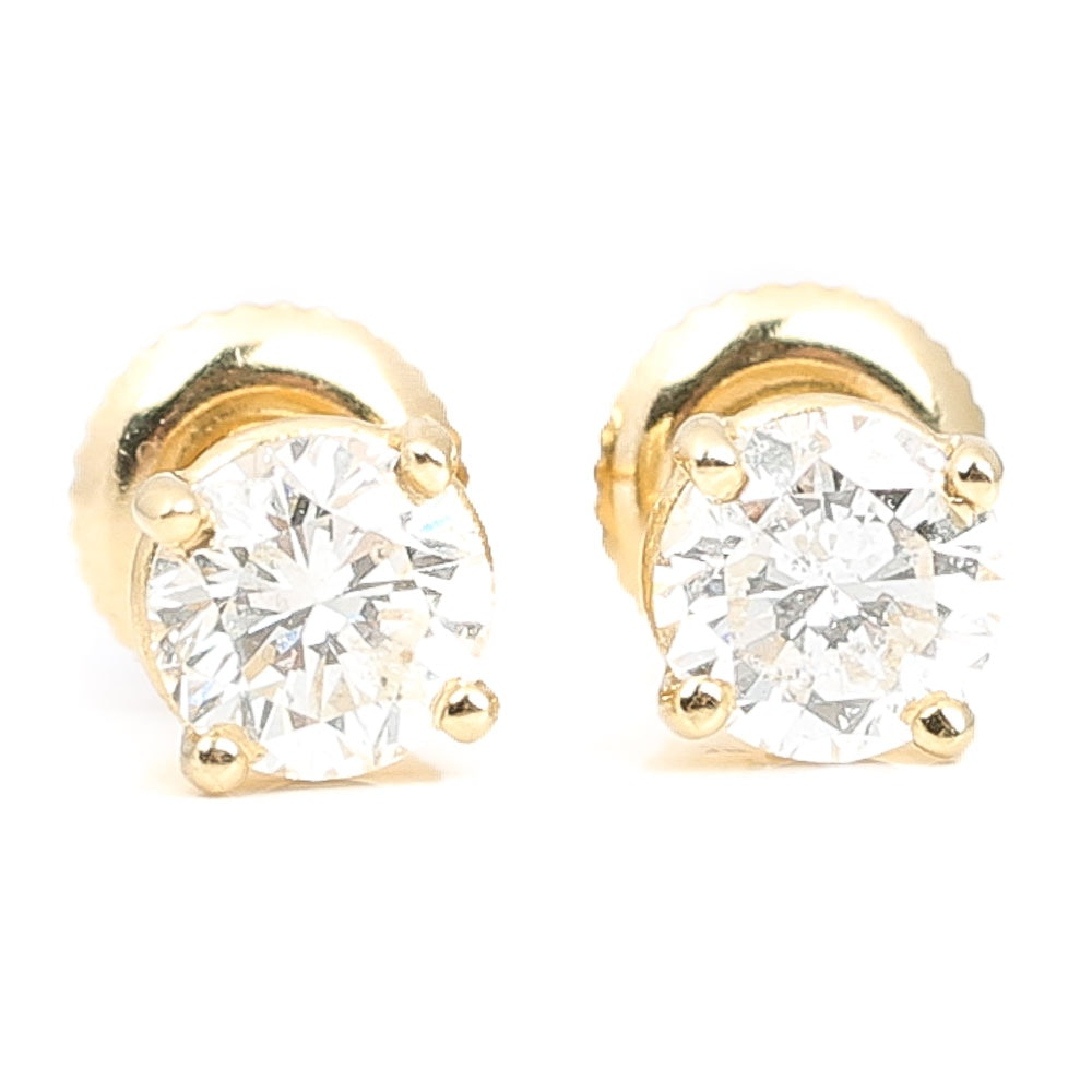 14K Yellow Gold 1.10 CTW Diamond Stud Earrings