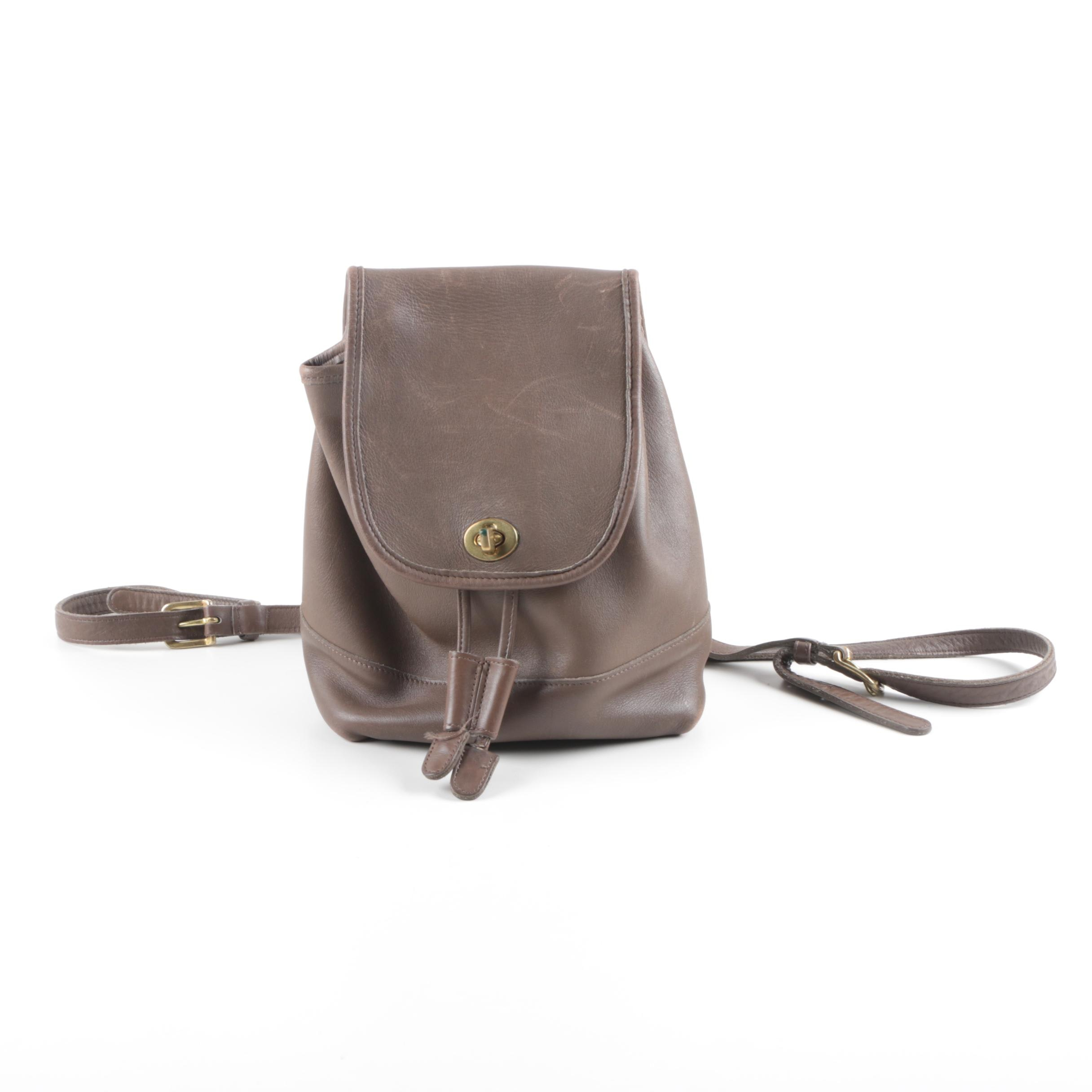 Coach Brown Leather Drawstring Backpack Purse