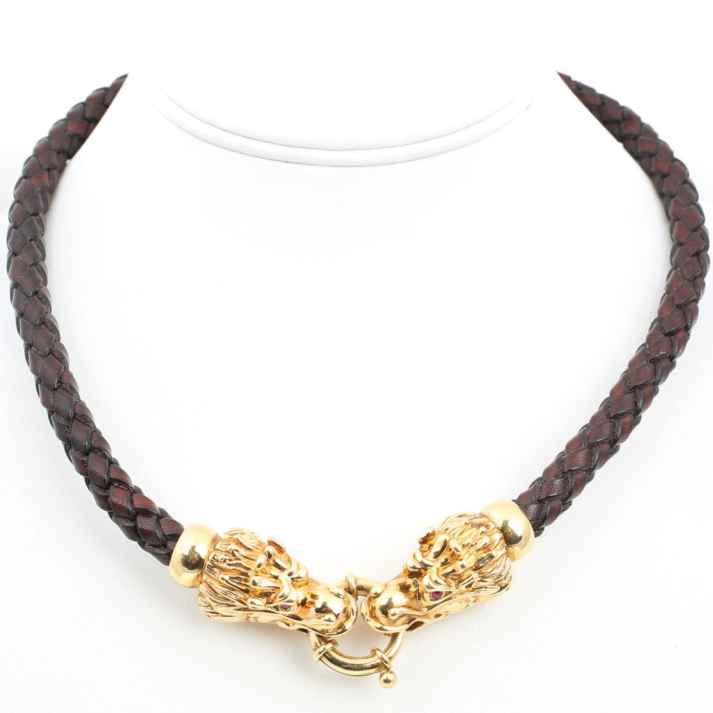18K Yellow Gold Ruby Dragon Necklace