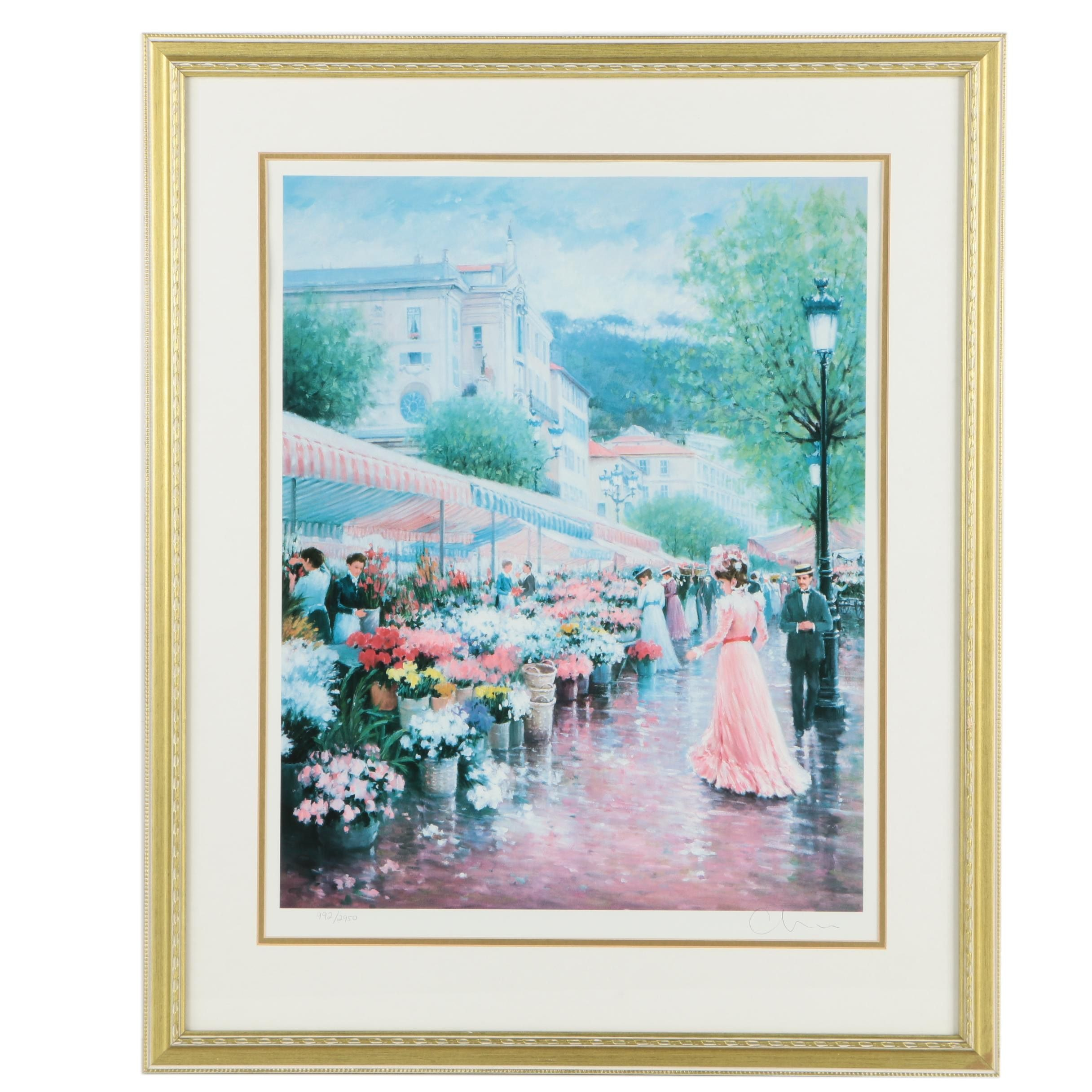 "Chun Limited Edition Offset Lithograph ""Flower Market #3"""