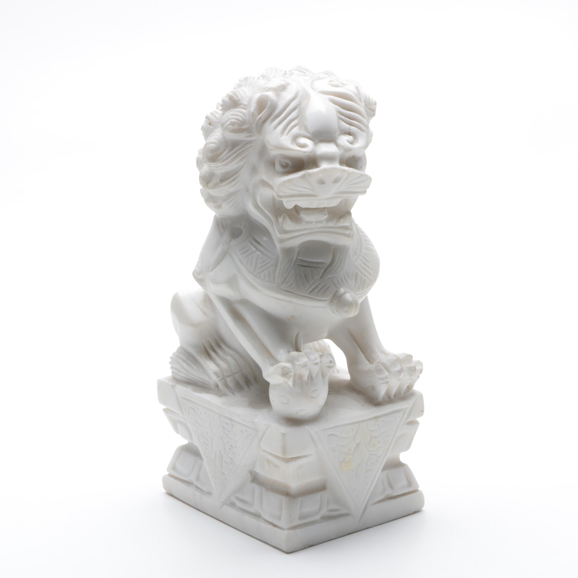 Fine-Grained Marble Chinese Guardian Lion Figurine