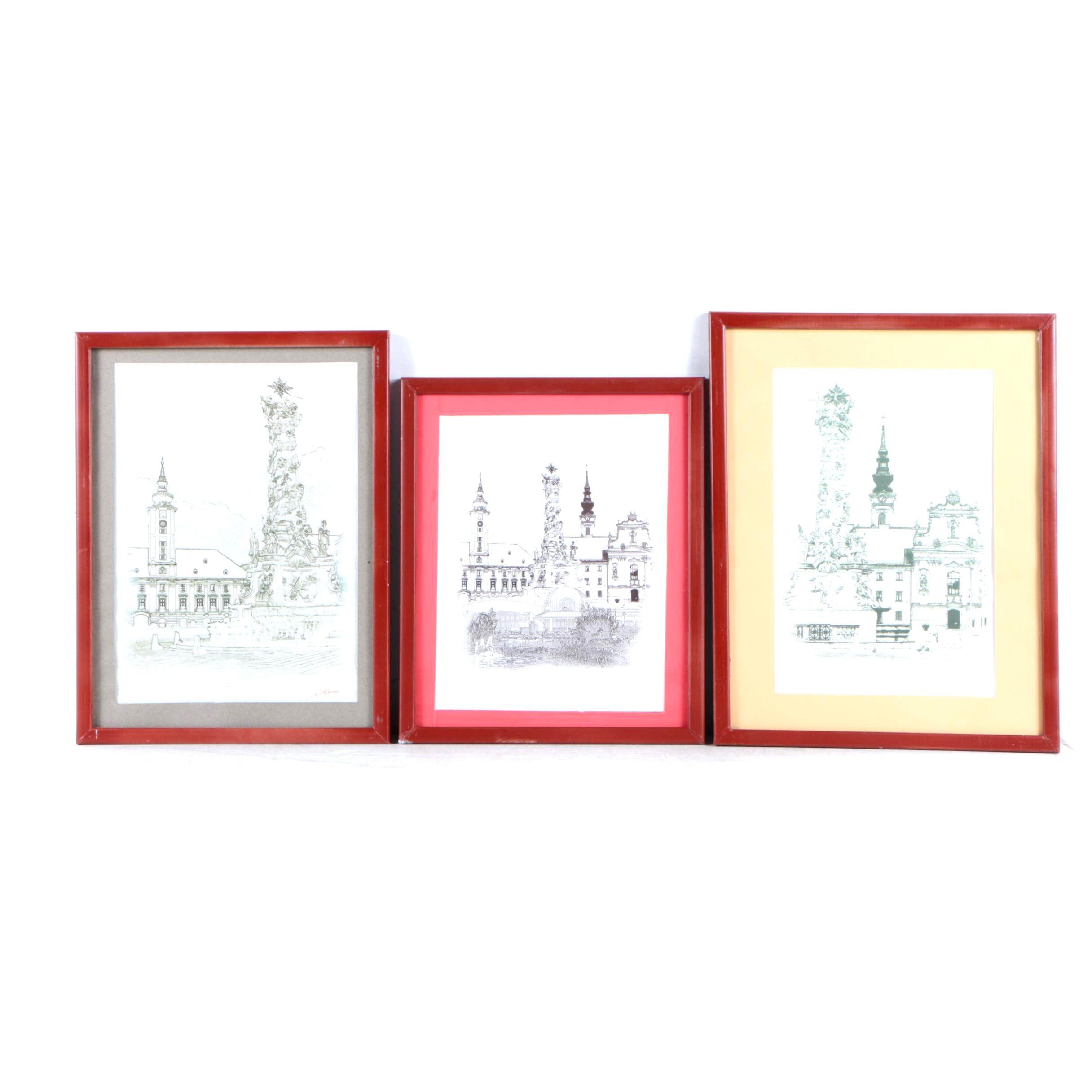L. Heinz Offset Lithographs of European Architecture