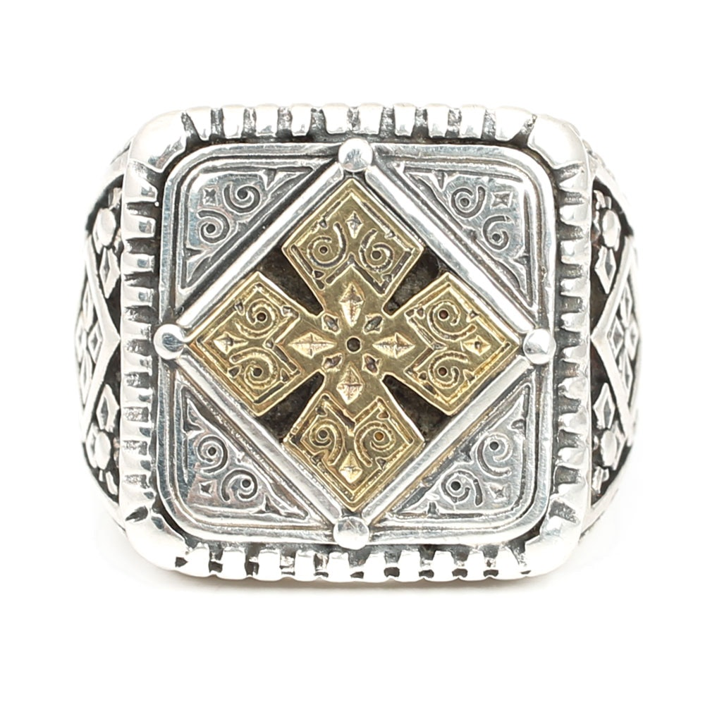 Konstantino Sterling Silver and 18K Yellow Gold Accent Ring