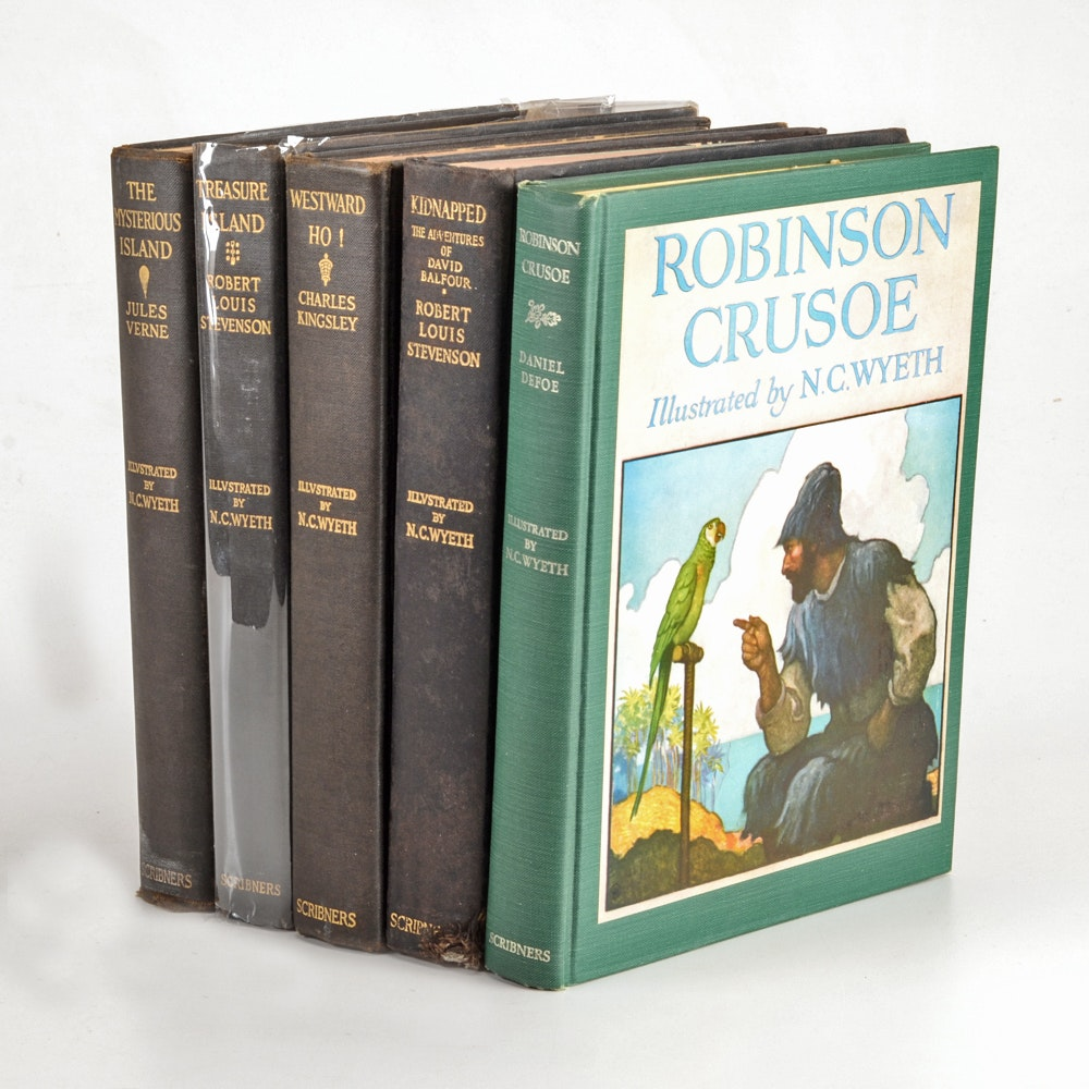 Group of N.C. Wyeth Illustrated Pirate and Adventure Hardcovers