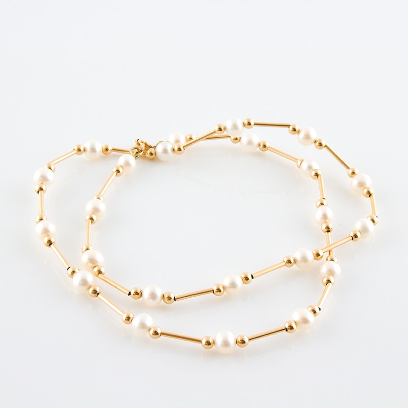 14K Yellow Gold and Cultured Pearl Beaded Necklace
