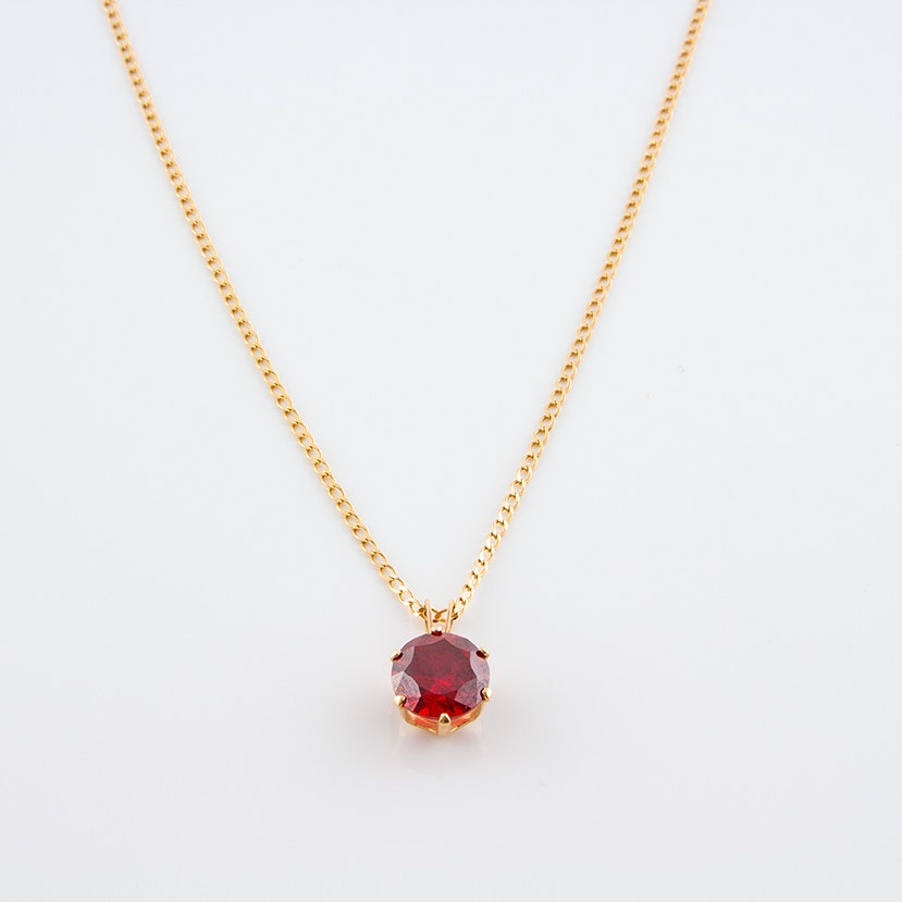 14K Yellow Gold Chain Necklace with Red Cubic Zironia Pendant