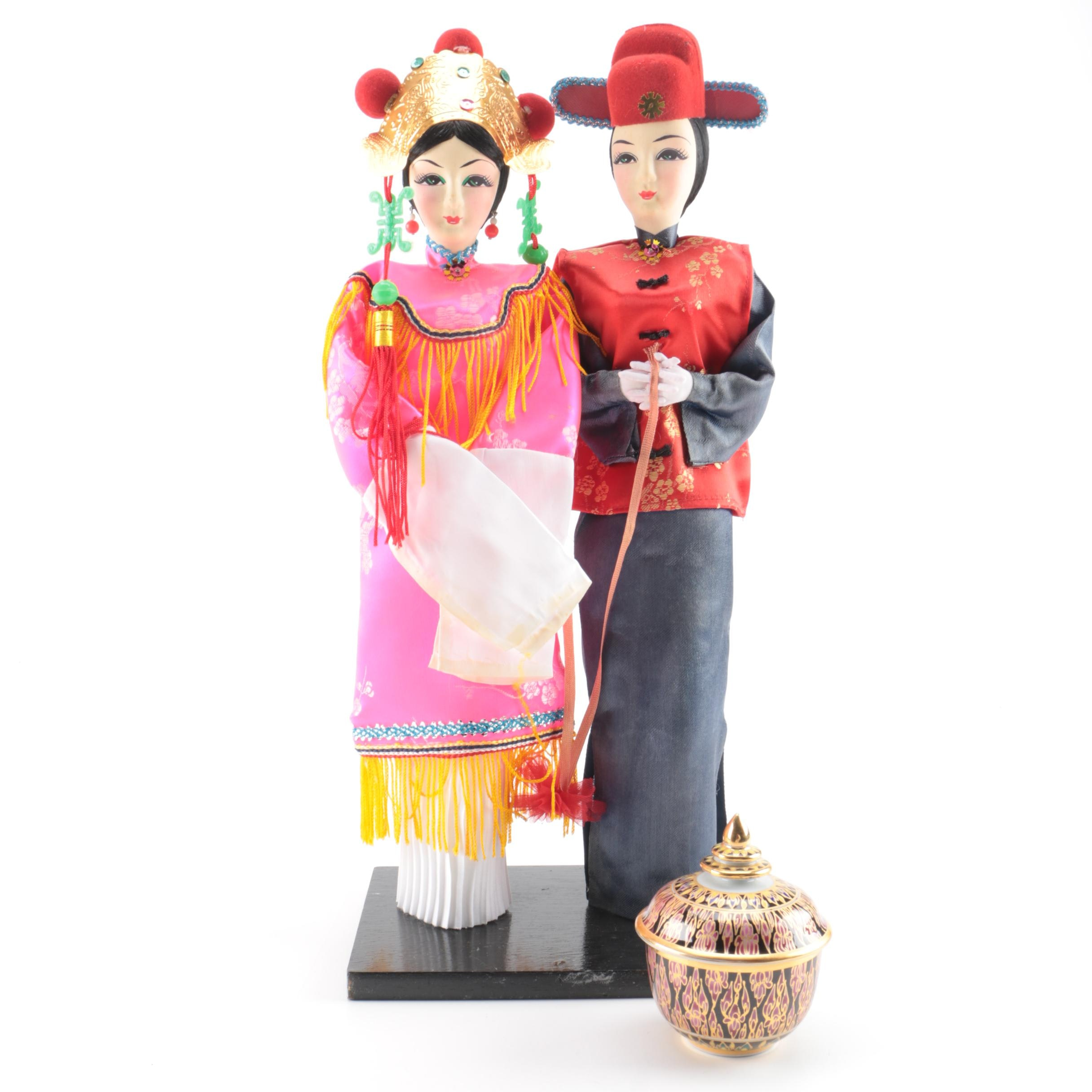 Chinese Wedding Dolls and Thai Ceramic Trinket Box