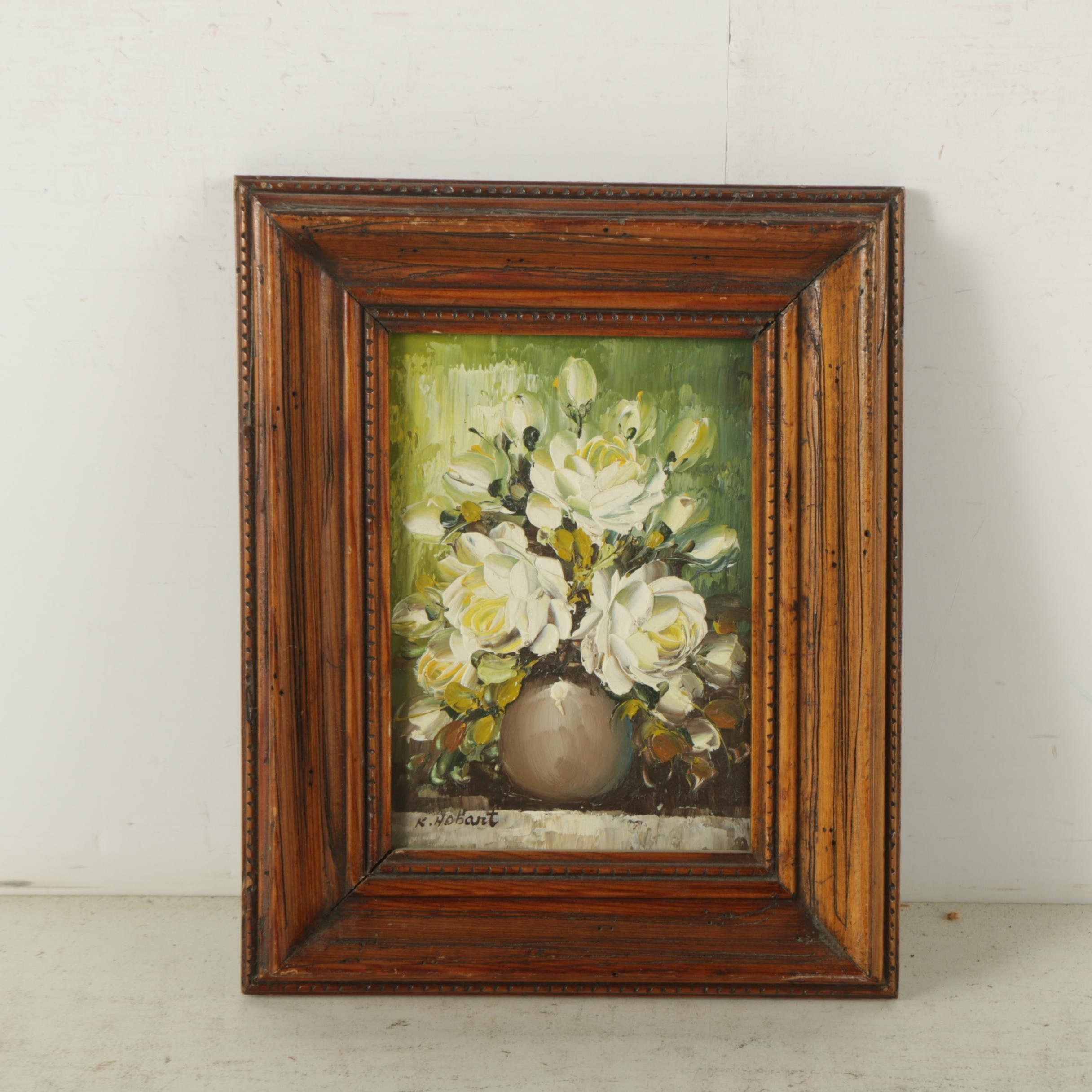 K. Hobart Oil Painting on Canvas Board of Still Life with Yellow Roses