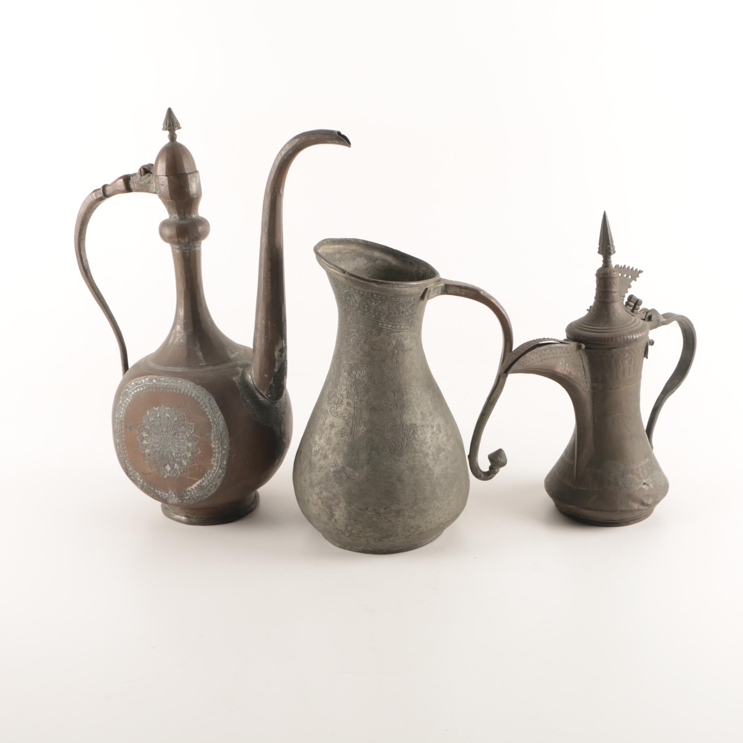 Collection of Hand Made Middle Eastern Hot Beverage Pots and a Pitcher