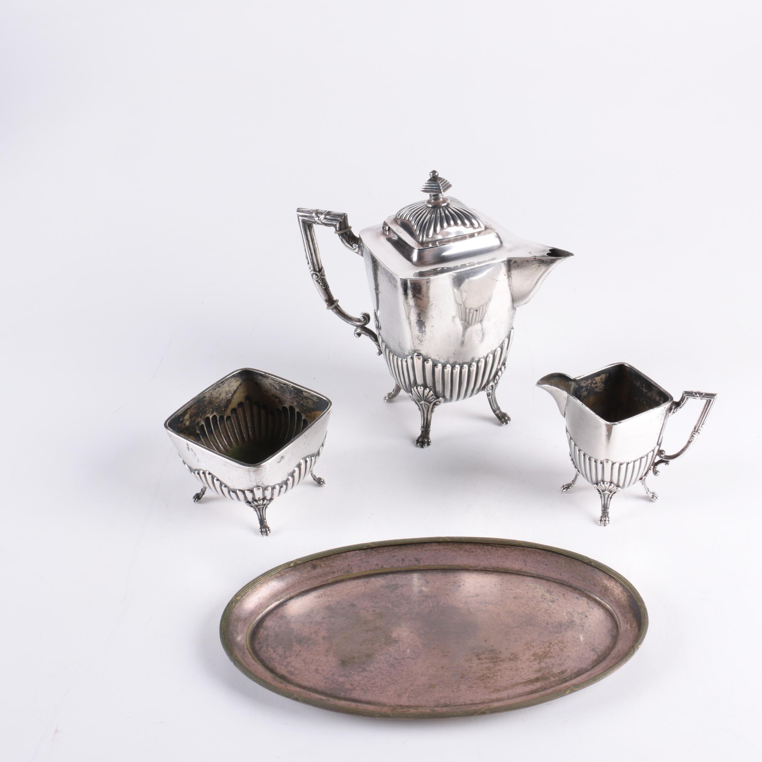 Hugo Böhm German 800 Silver Fluted Tea Service