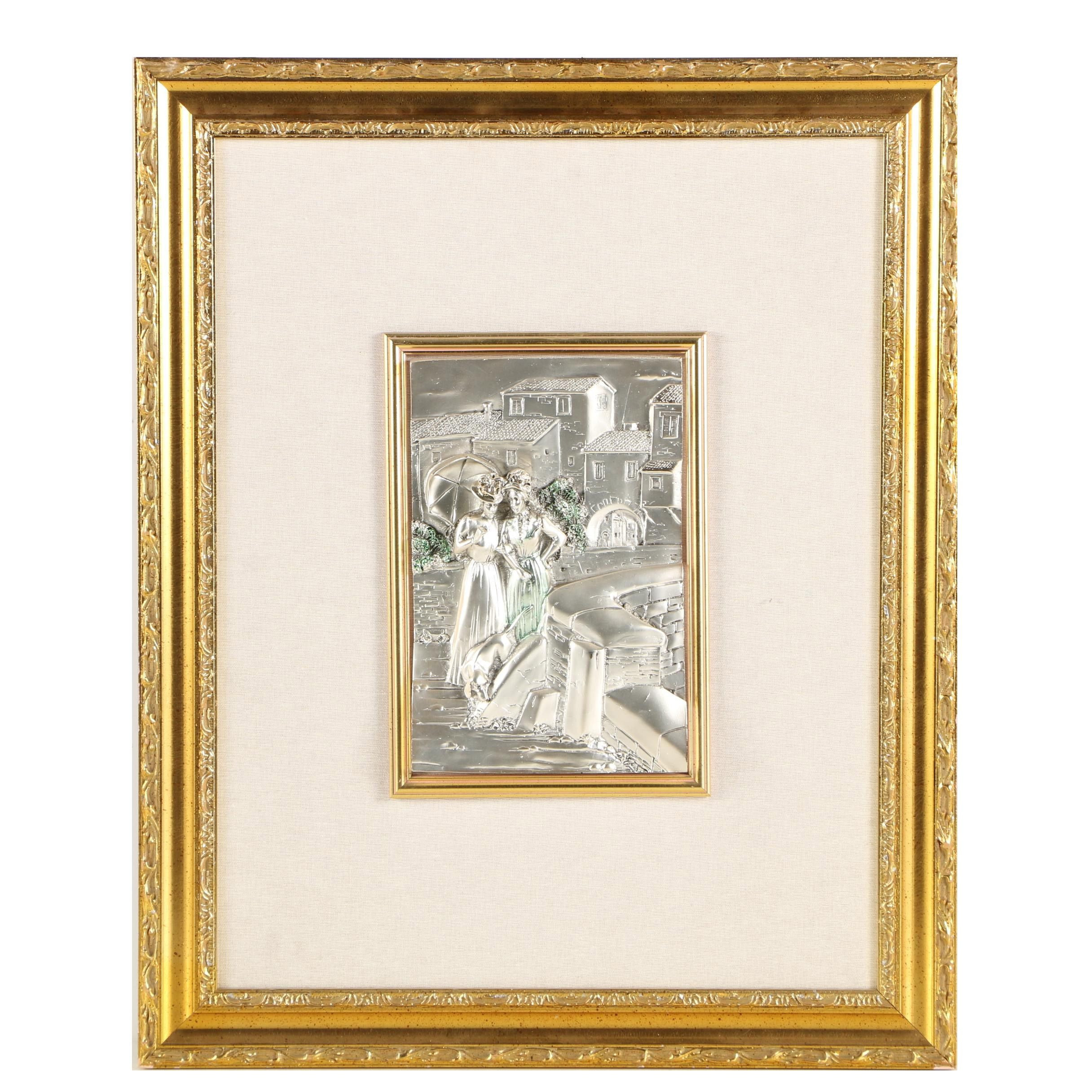 Silver Tone Resin Relief Wall Hanging of Turn-of-the-Century Scene