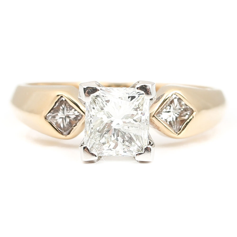 14K Yellow Gold and Platinum 1.23 CTW Diamond Ring