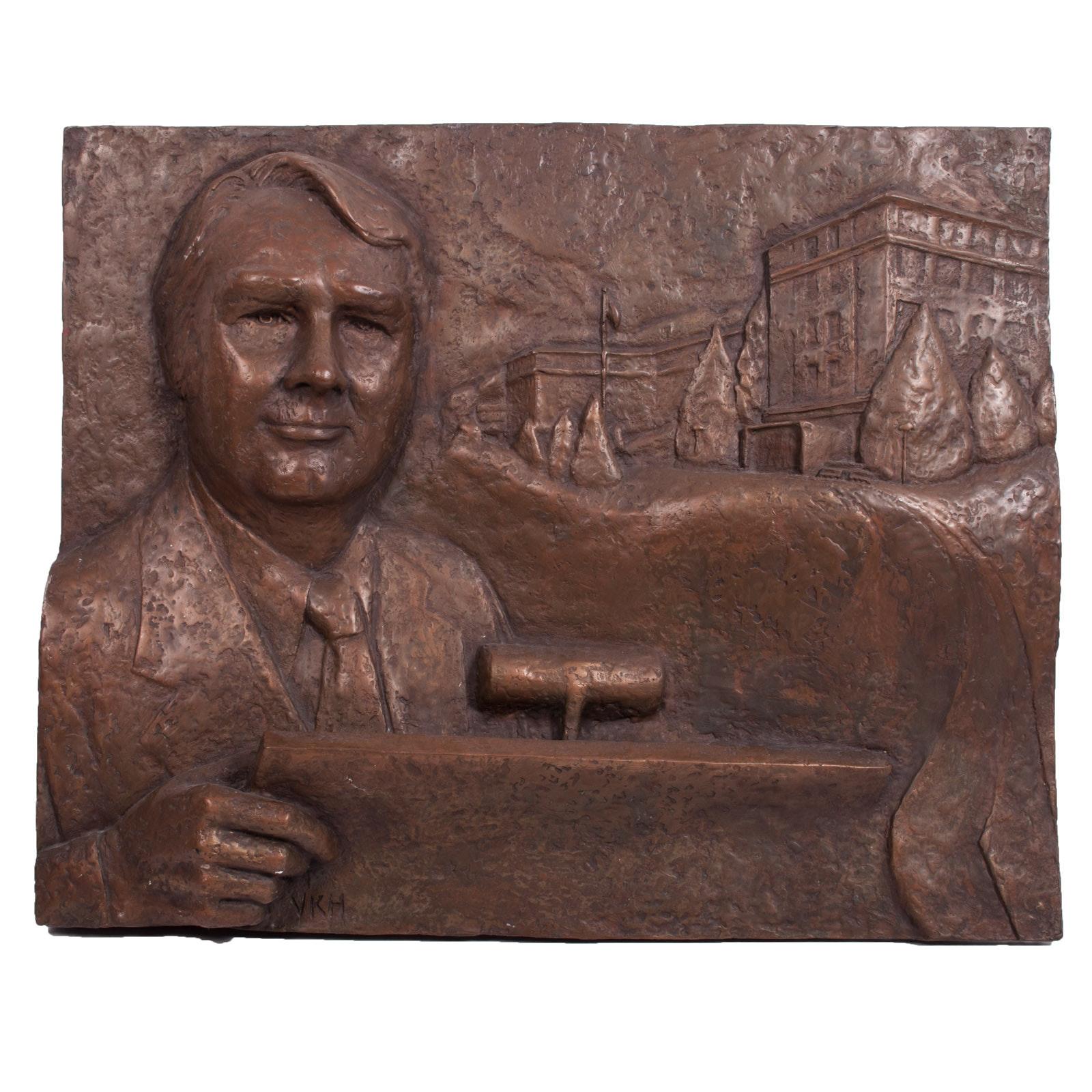 Virginia K. Hess Cold Bronze Maquette Sculpture of Dr. Donald Brinkmann