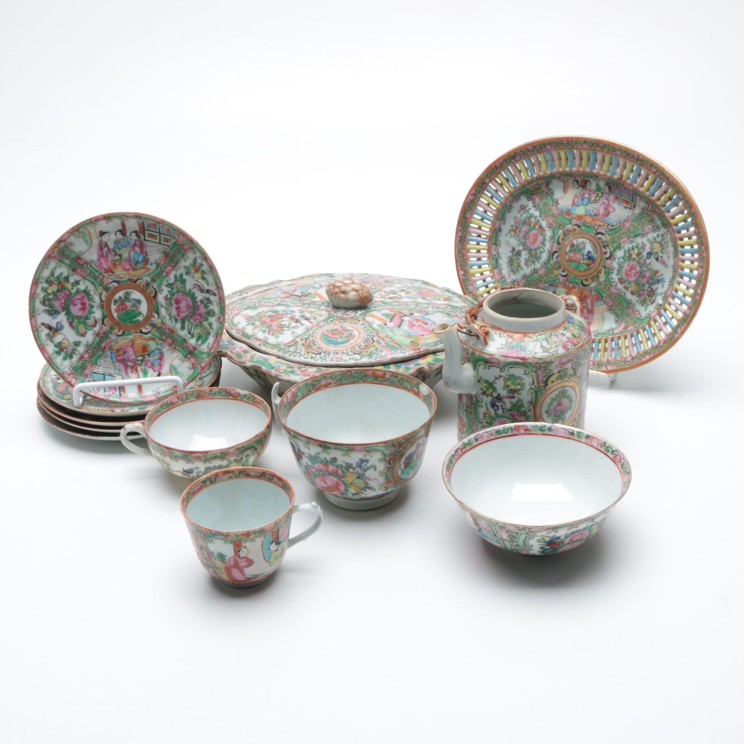 Vintage Chinese Rose Medallion Tableware