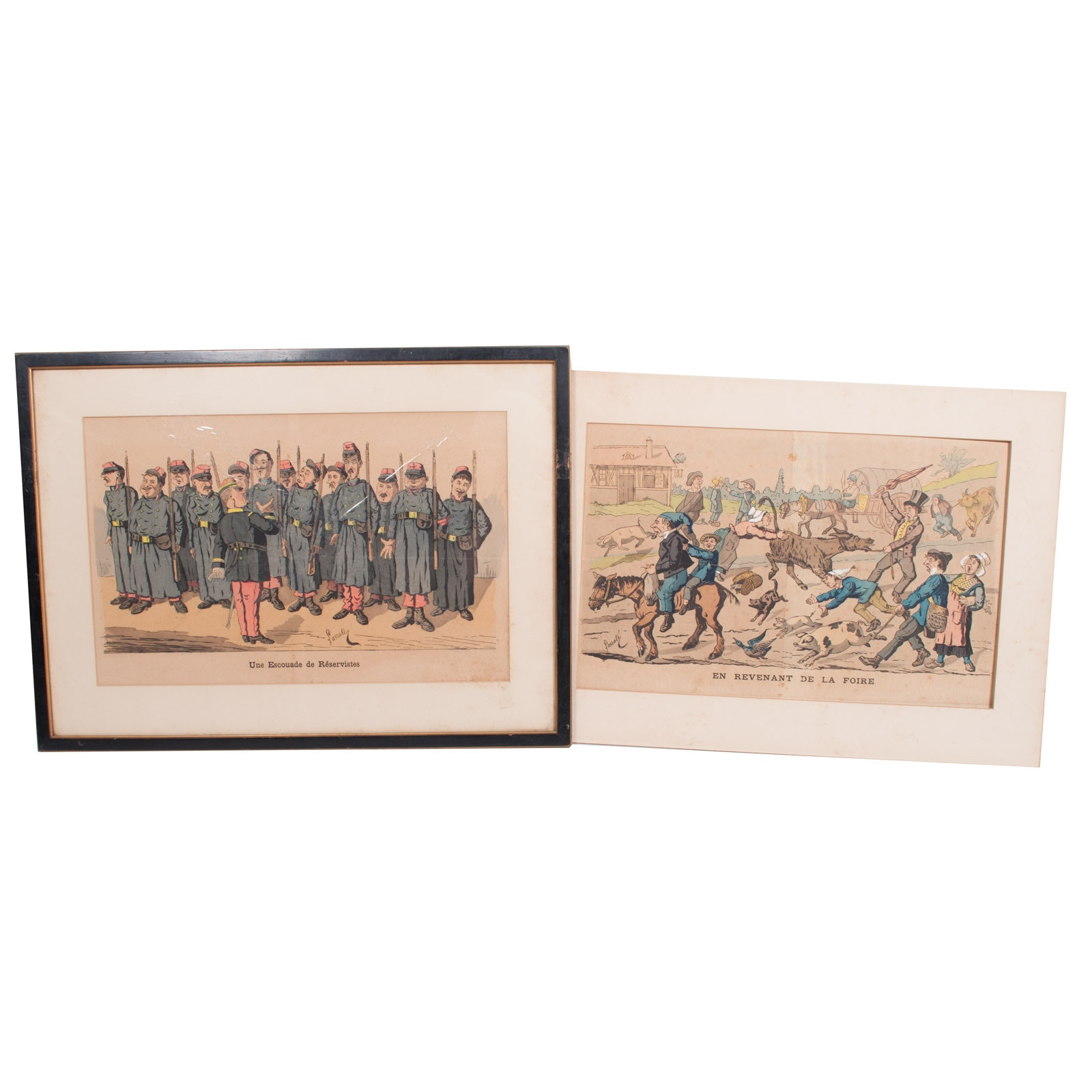 Pair of Edmond Lavrate Offset Lithographs on Paper of Satirical Illustrations