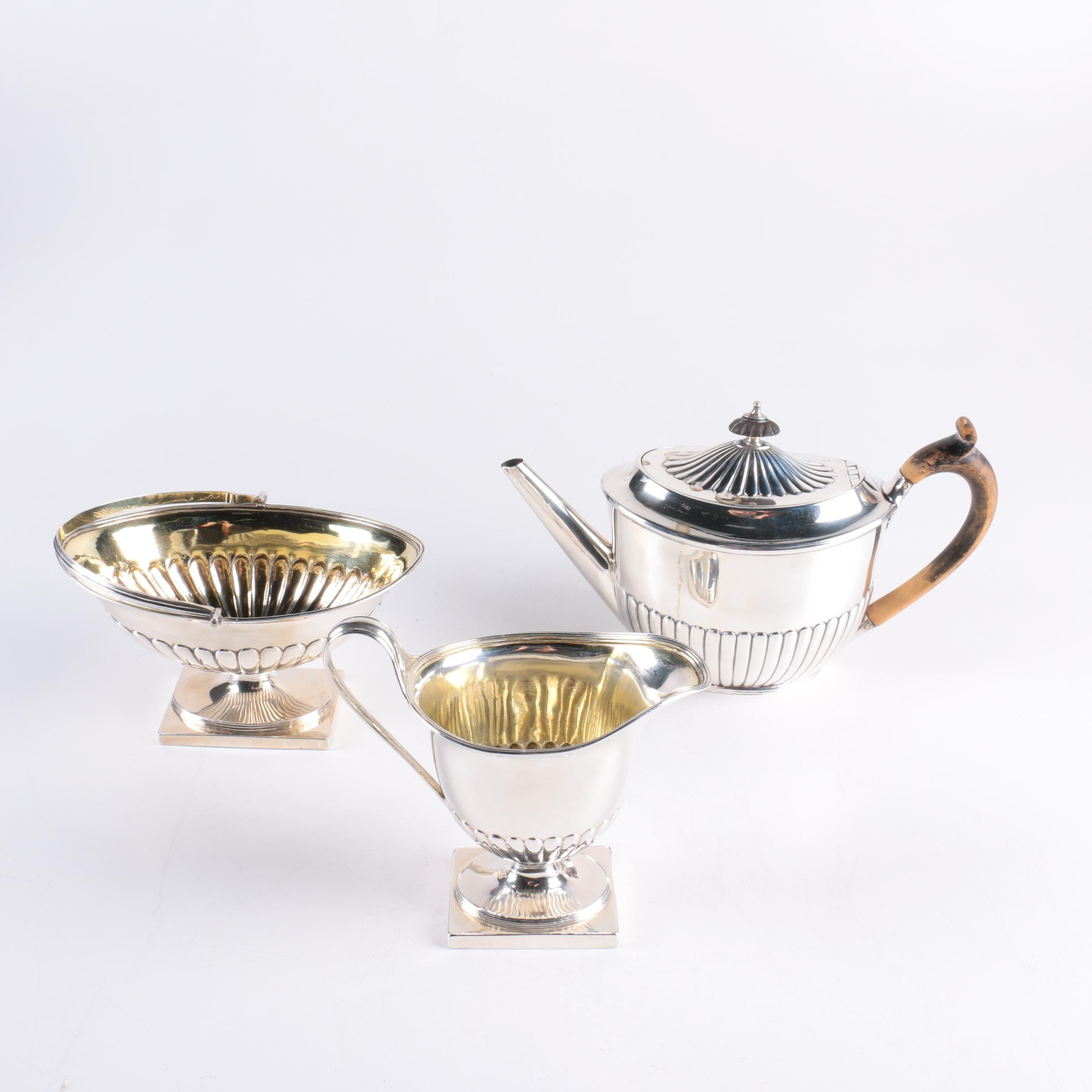 Georgian Robert Sharp and William Fountain London Sterling Silver Tea Service
