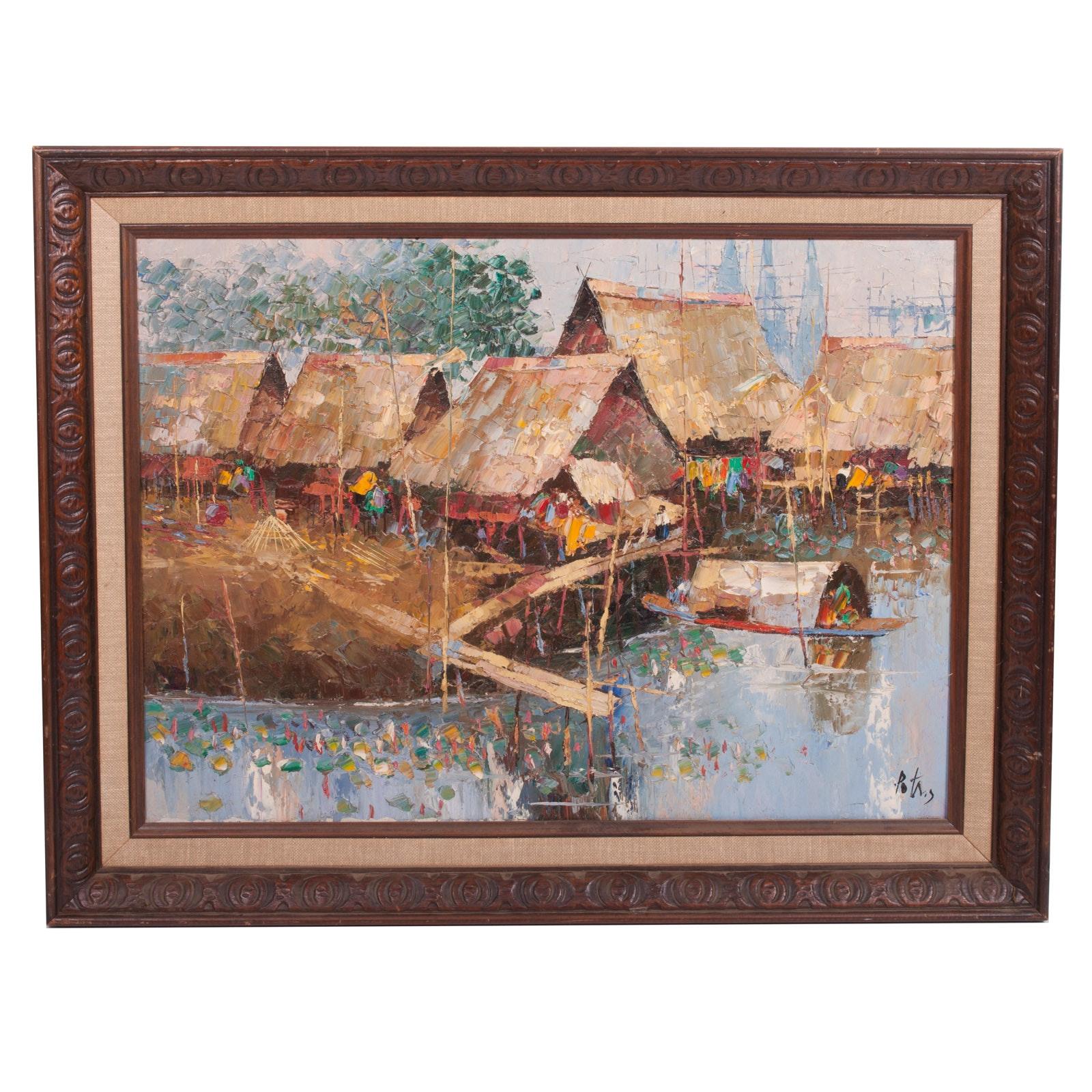 Signed Impasto Oil on Canvas Landscape