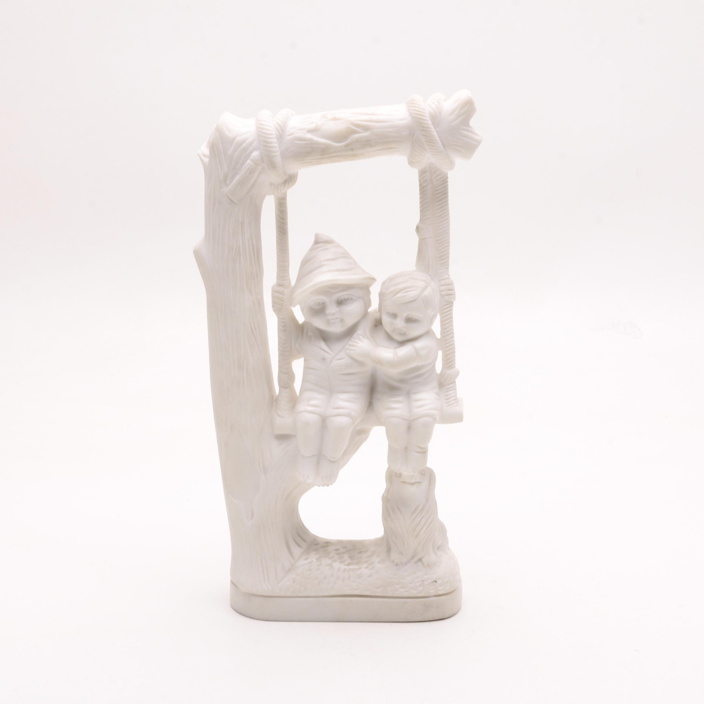 Fine Grained Marble Figurine of Children on a Swing