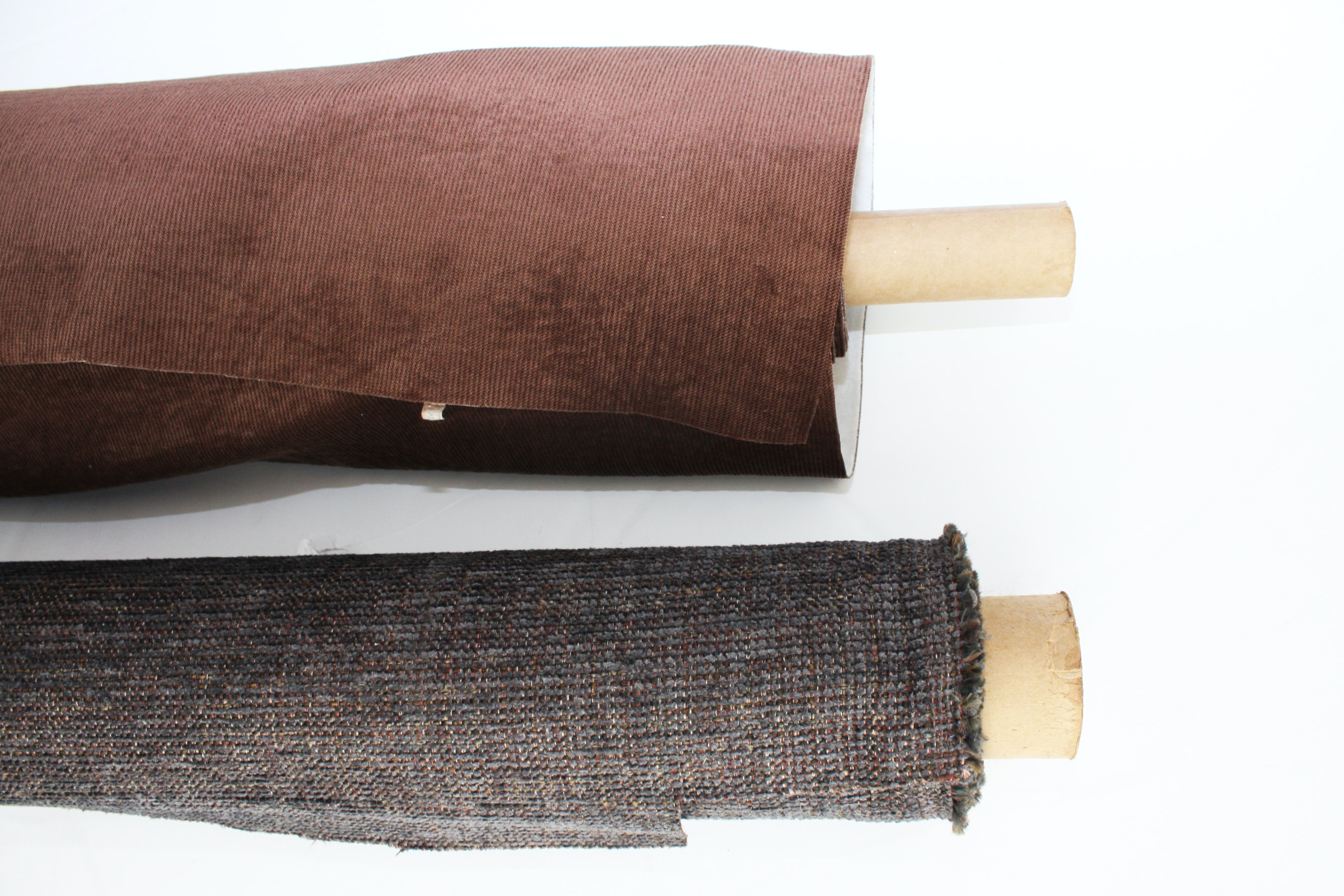 Brown and Gray Upholstery Fabric Bolts