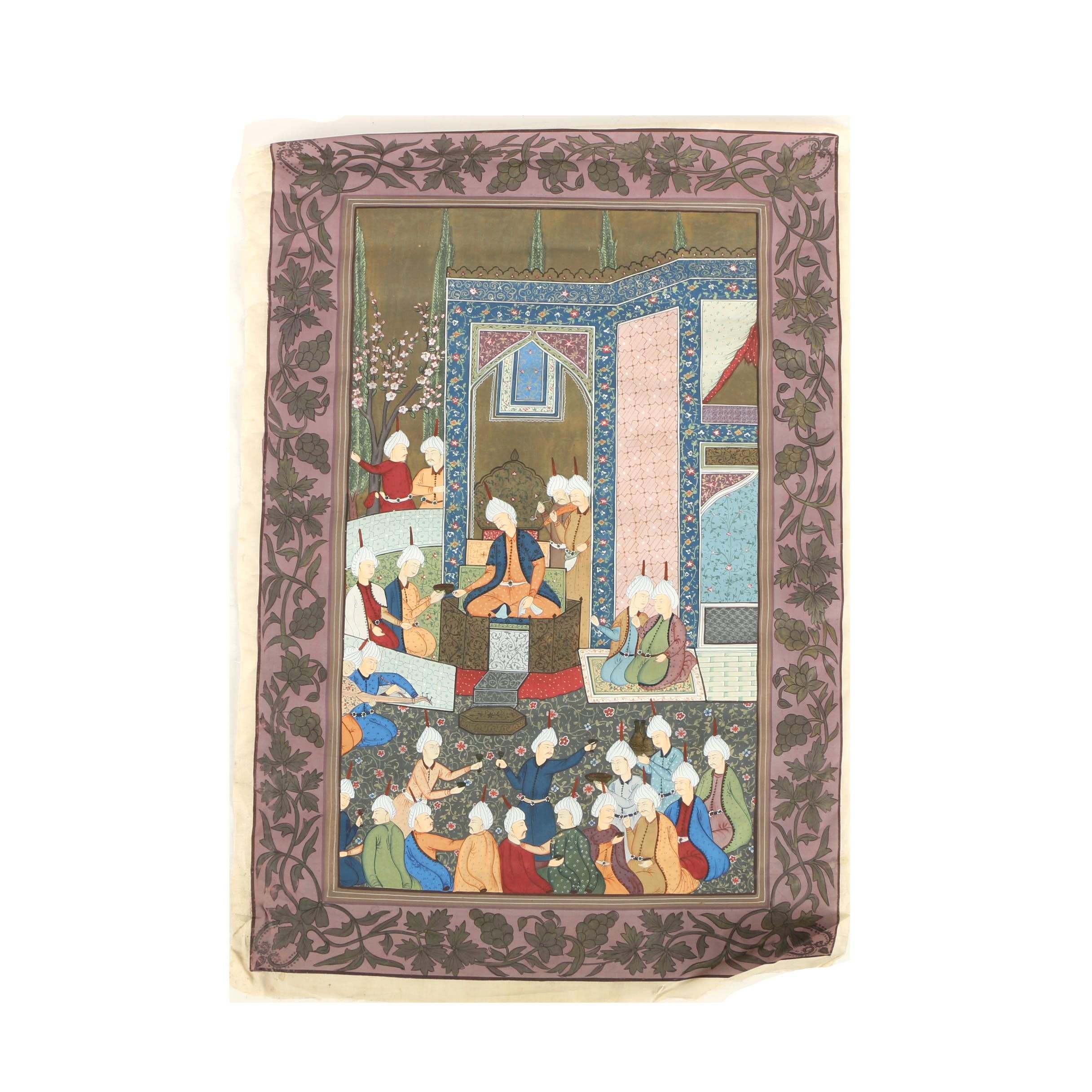 Indo-Persian Gouache Painting on Silk of Social Scene
