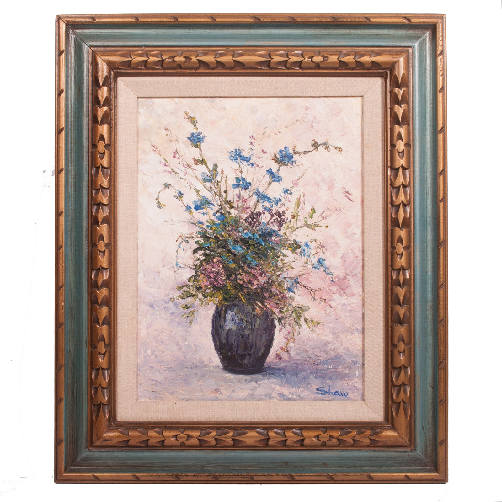 Signed Shaw Original Oil on Canvas Floral Still Life