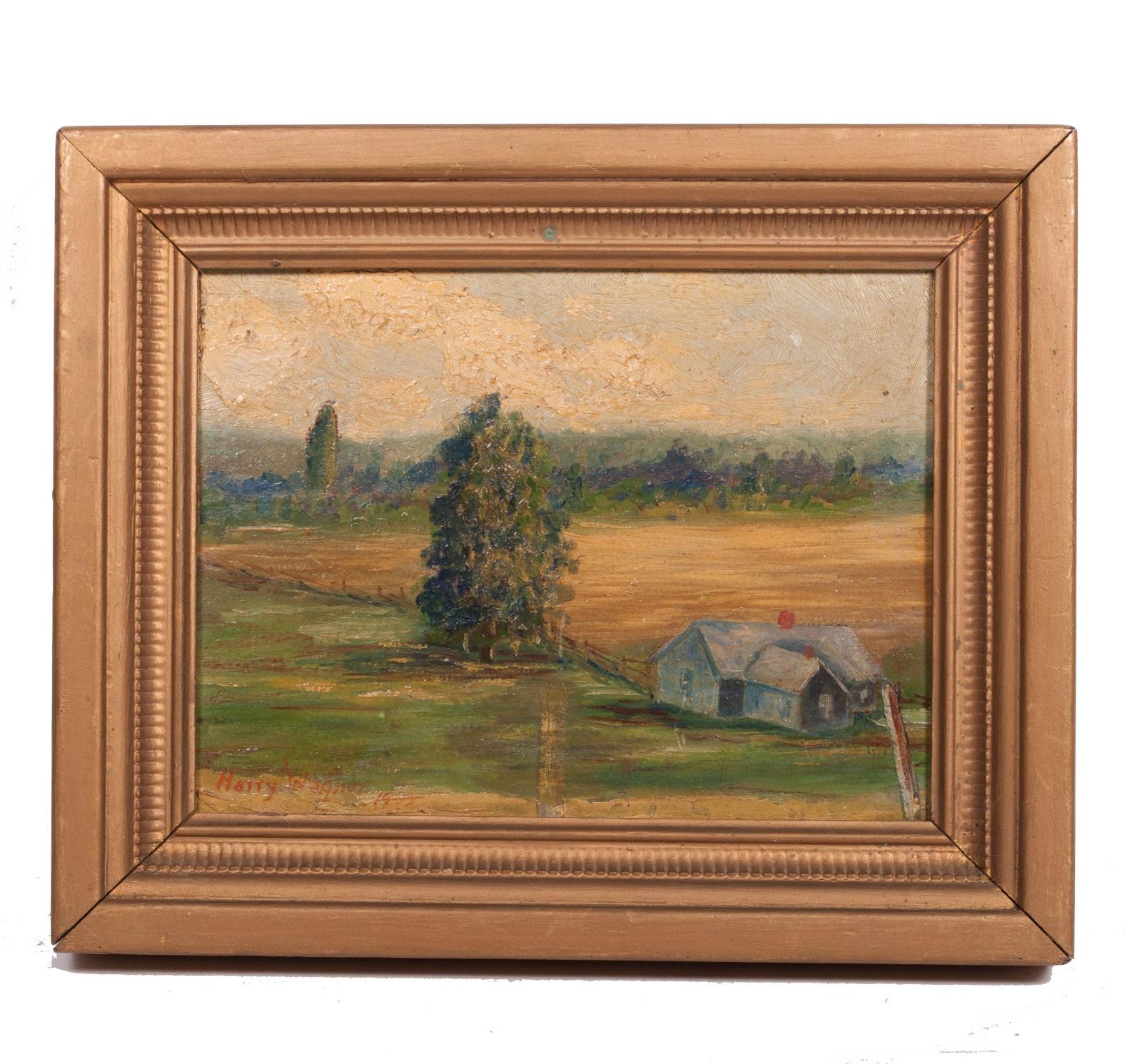 Vintage Harry Wagner Original Oil Painting on Panel of Landscape