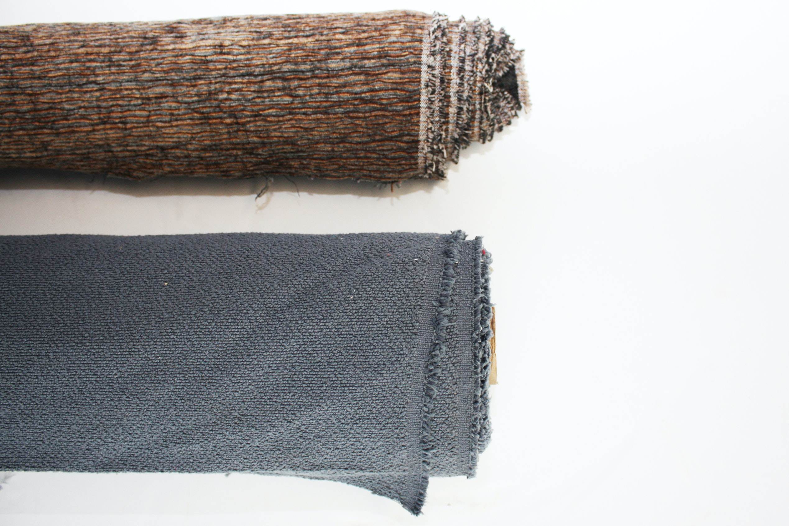 Blue and Brown Woven Upholstery Fabric Bolts