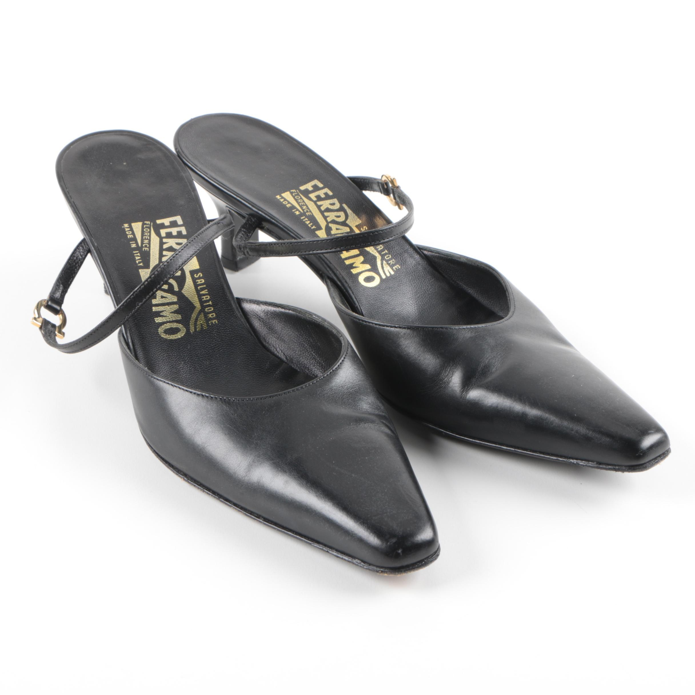 Women's Salvatore Ferragamo Black Leather Mules